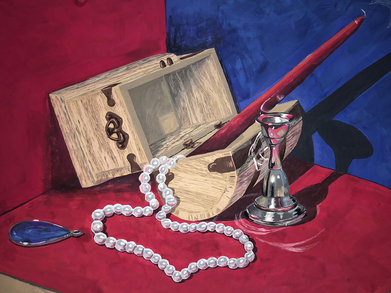 An open treasure chest with a red candle and pearl necklace