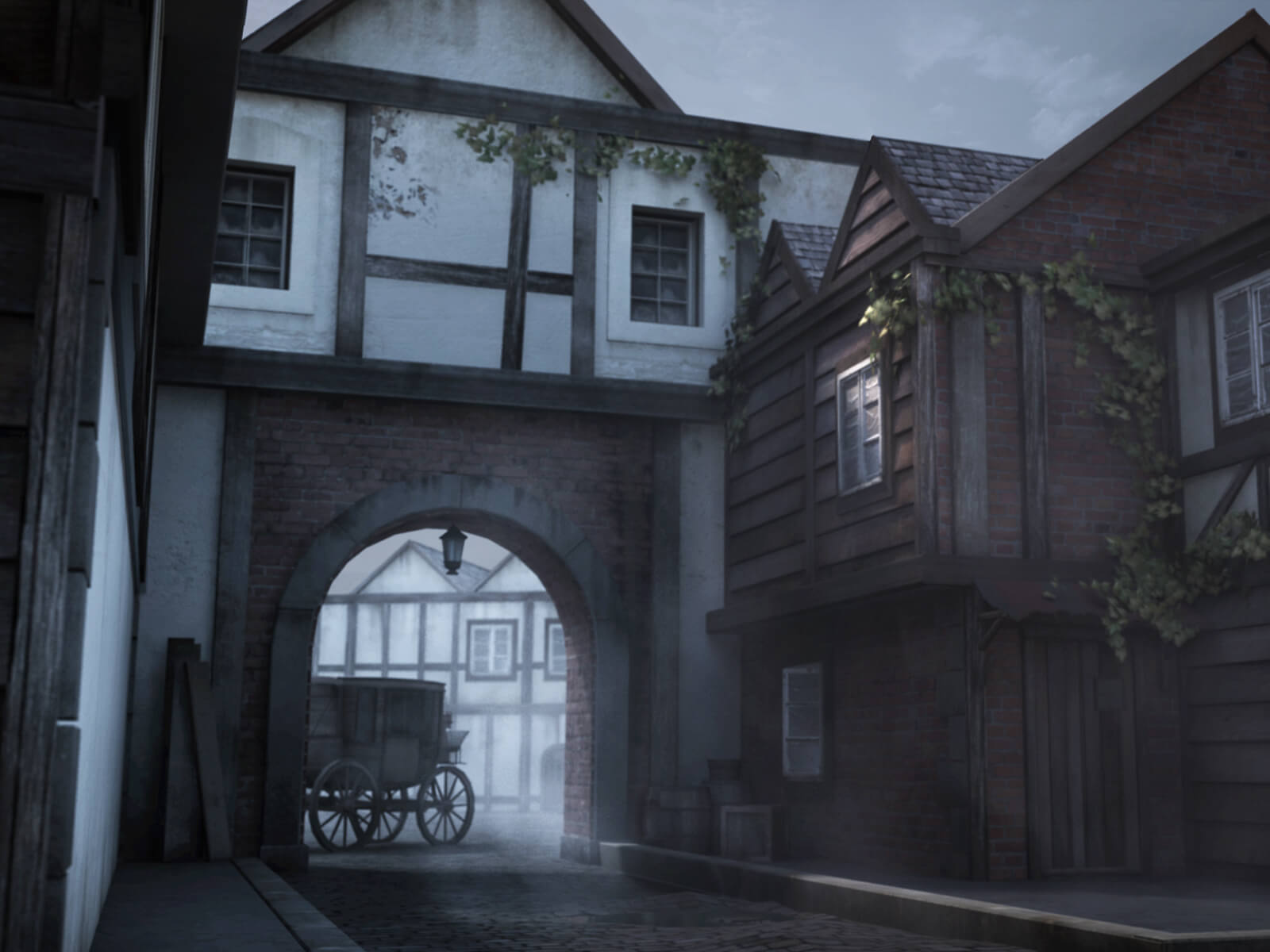 computer-generated 3D environment with darkened tudor-style buildings and a carriage