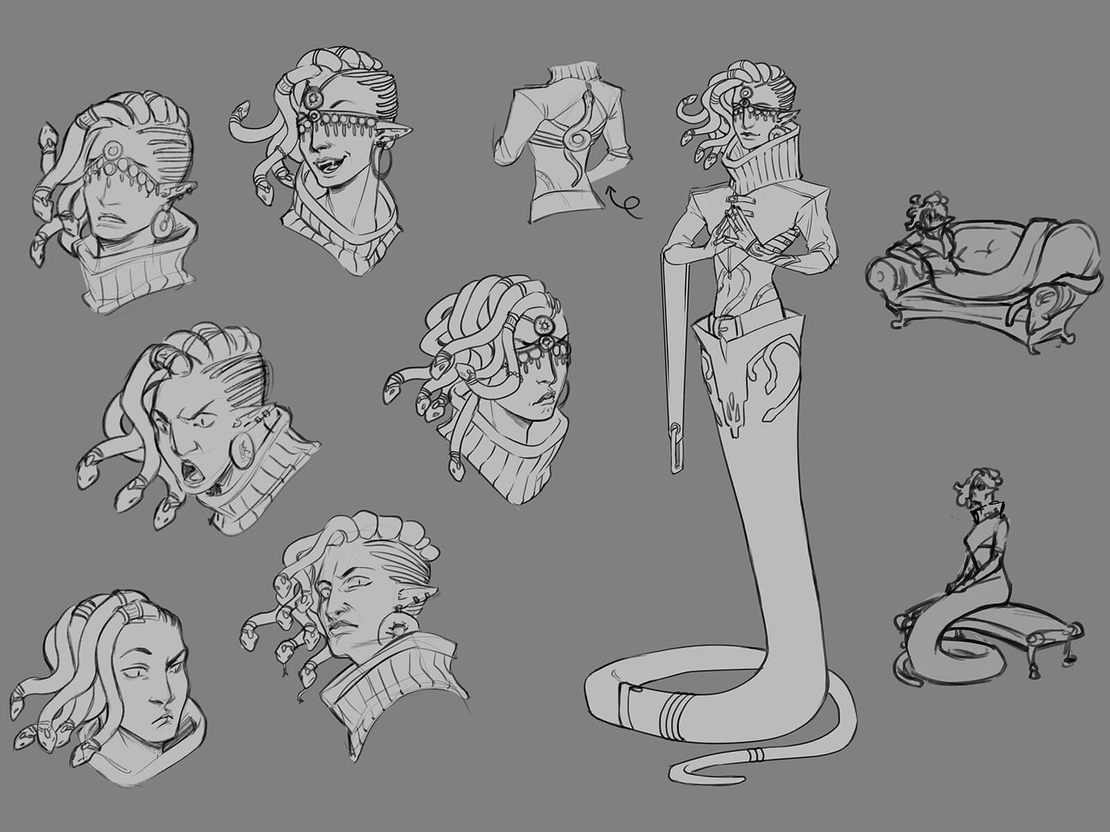 A character that is half-woman, half-snake, with snakes for hair