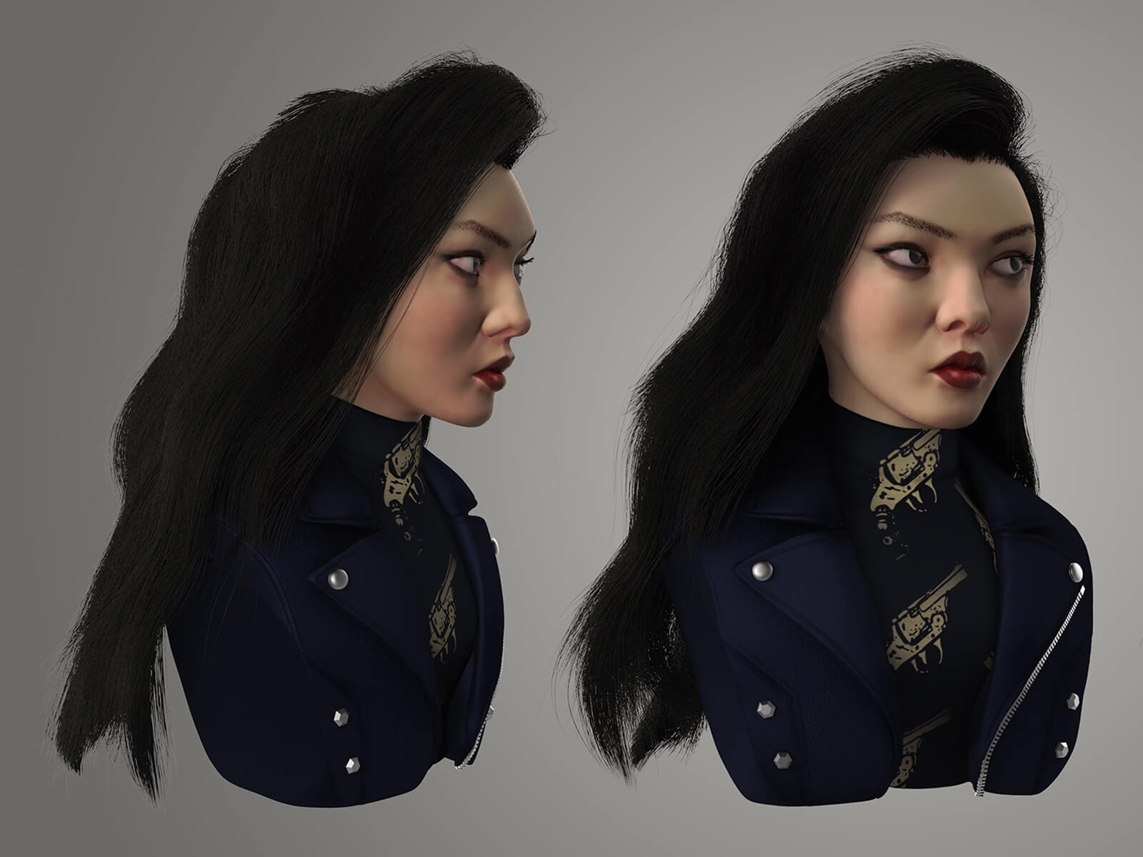 Multiple angles of a dark-haired woman wearing a turtleneck and jacket