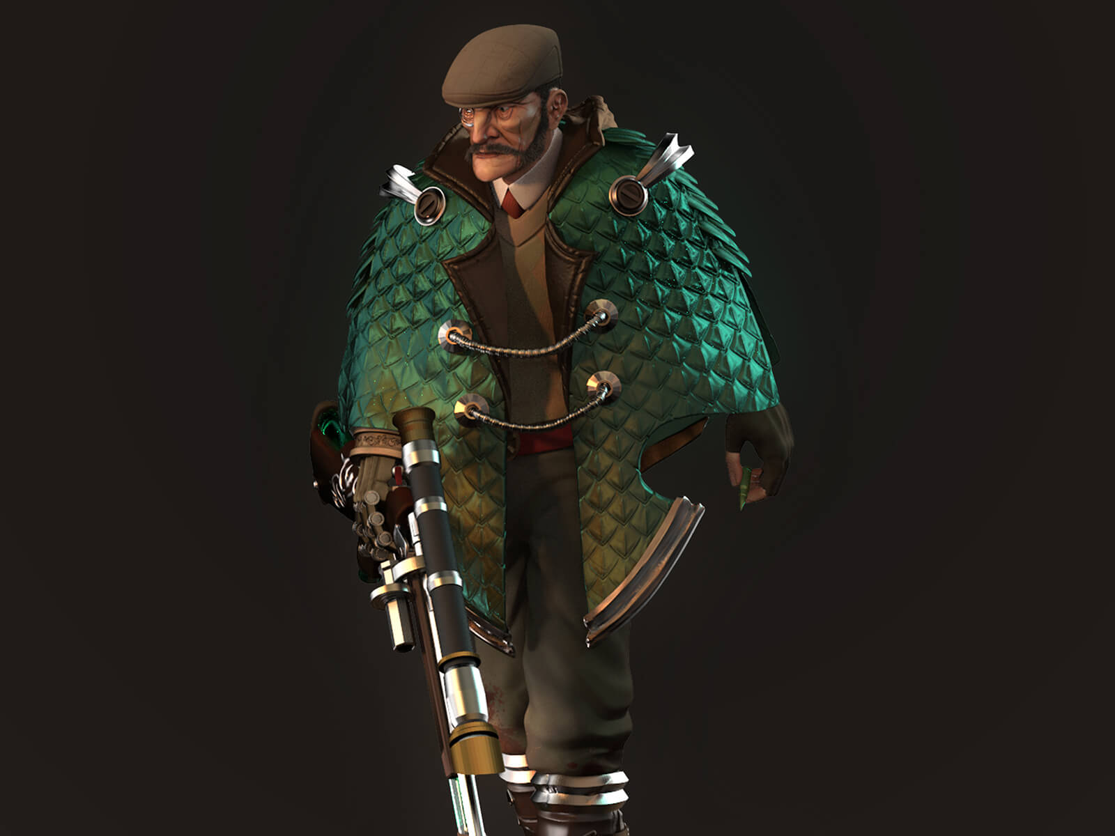 A traditionally dressed man with a futuristic cape and large gun