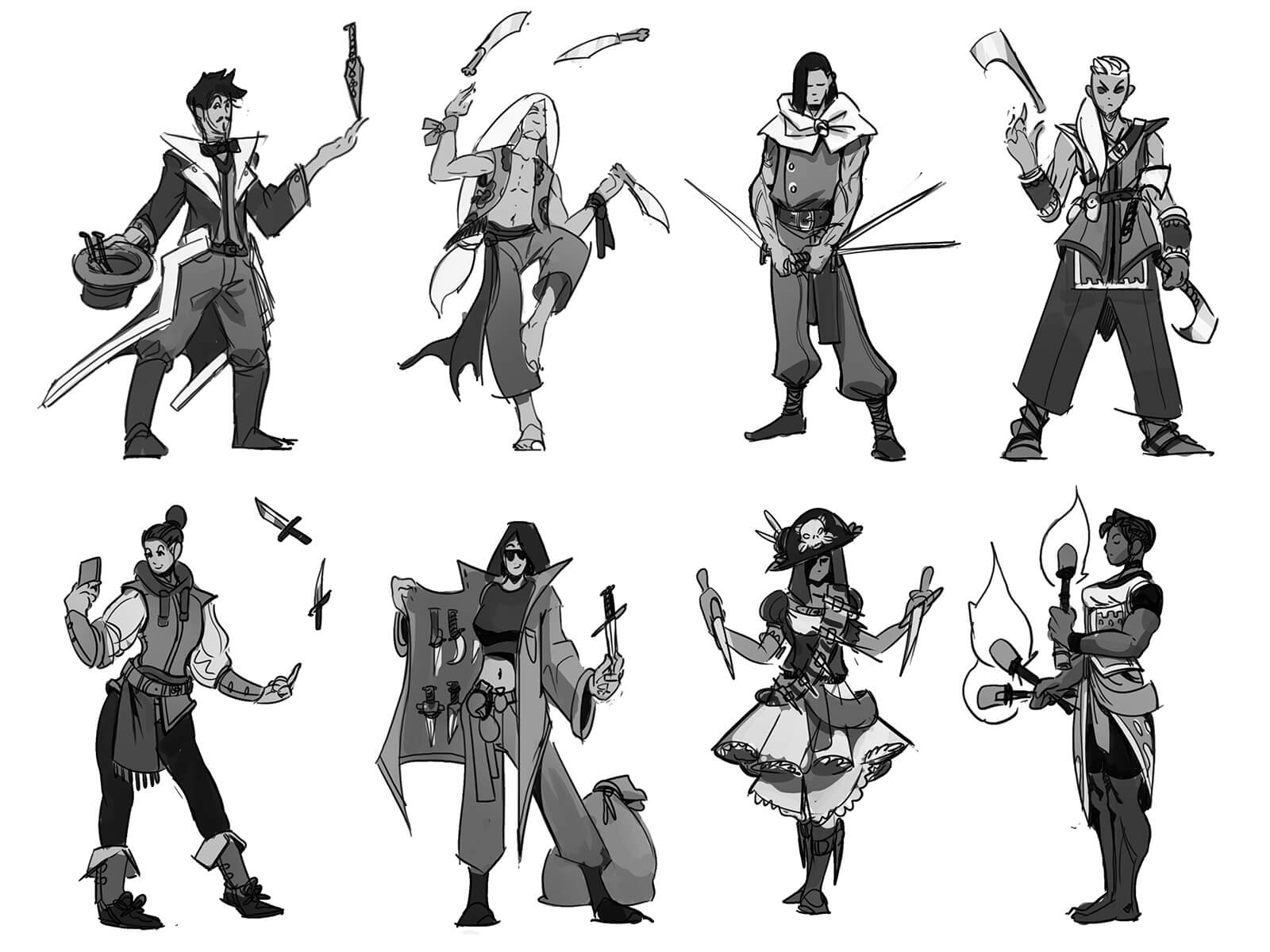 Sketches of various characters using knives and swords