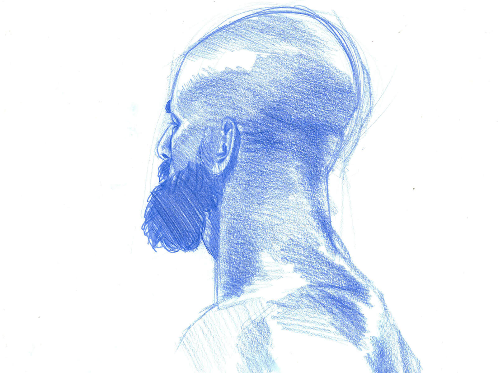 drawing of a bald man with a dark beard