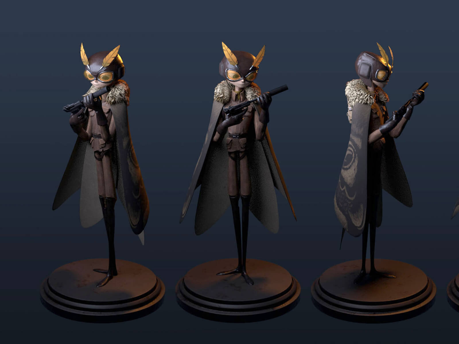 Multiple angles of a tall, thin character in goggles and a cape