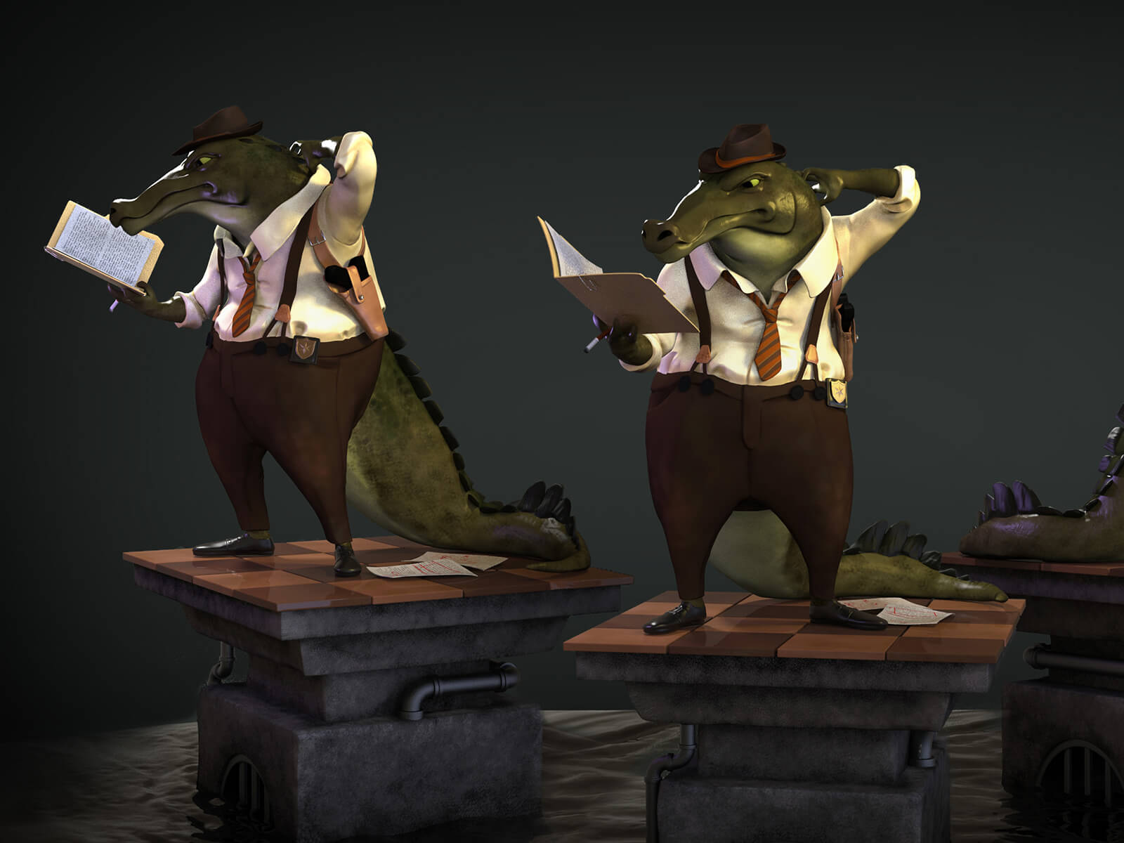 Two angles of an alligator dressed in pants, shirt, and tie