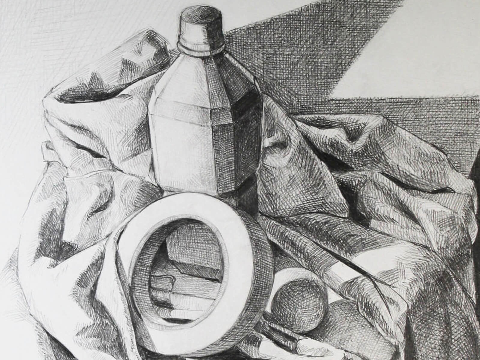 black and white still-life drawing of a bottle and a roll of tape on a draped sheet