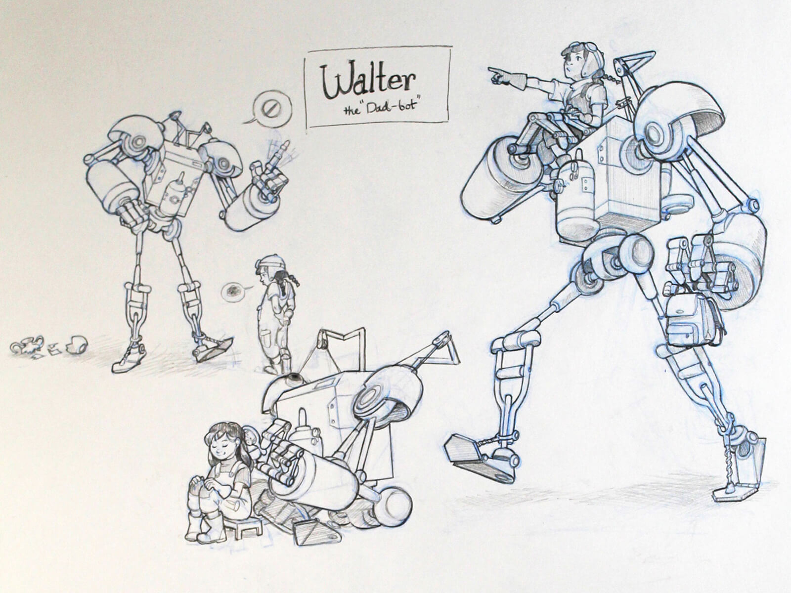 black and white drawings of a robot character named walter, one of which shows him carrying a girl on his shoulder