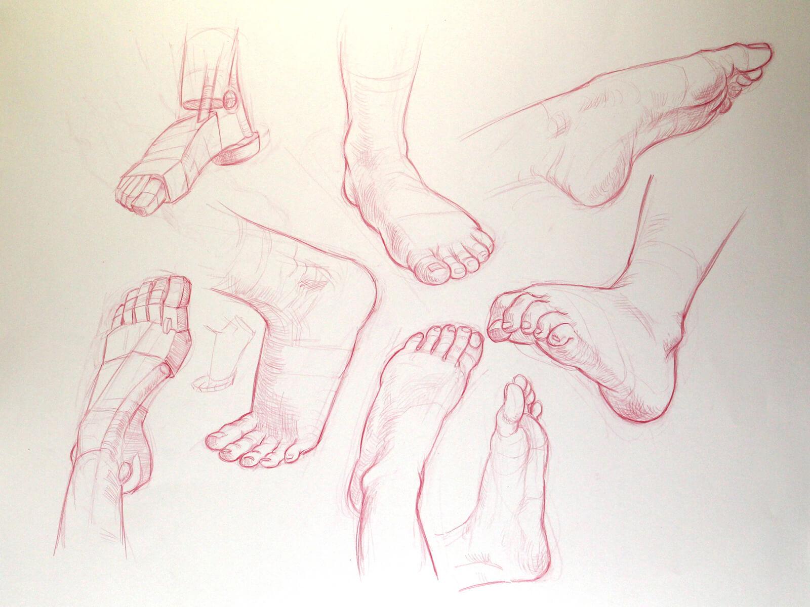 various drawings of feet