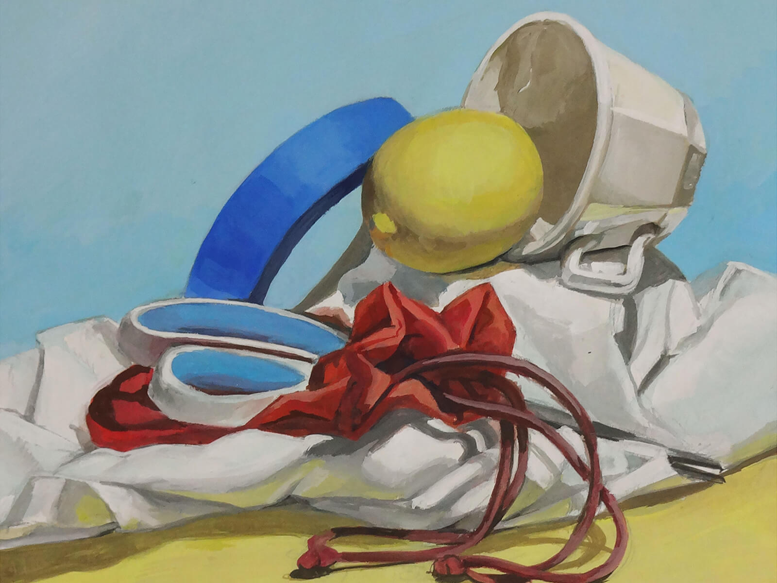 still-life traditional painting of a tea cup, a lemon, scissors, and a roll of blue painter's tape on a white draped sheet