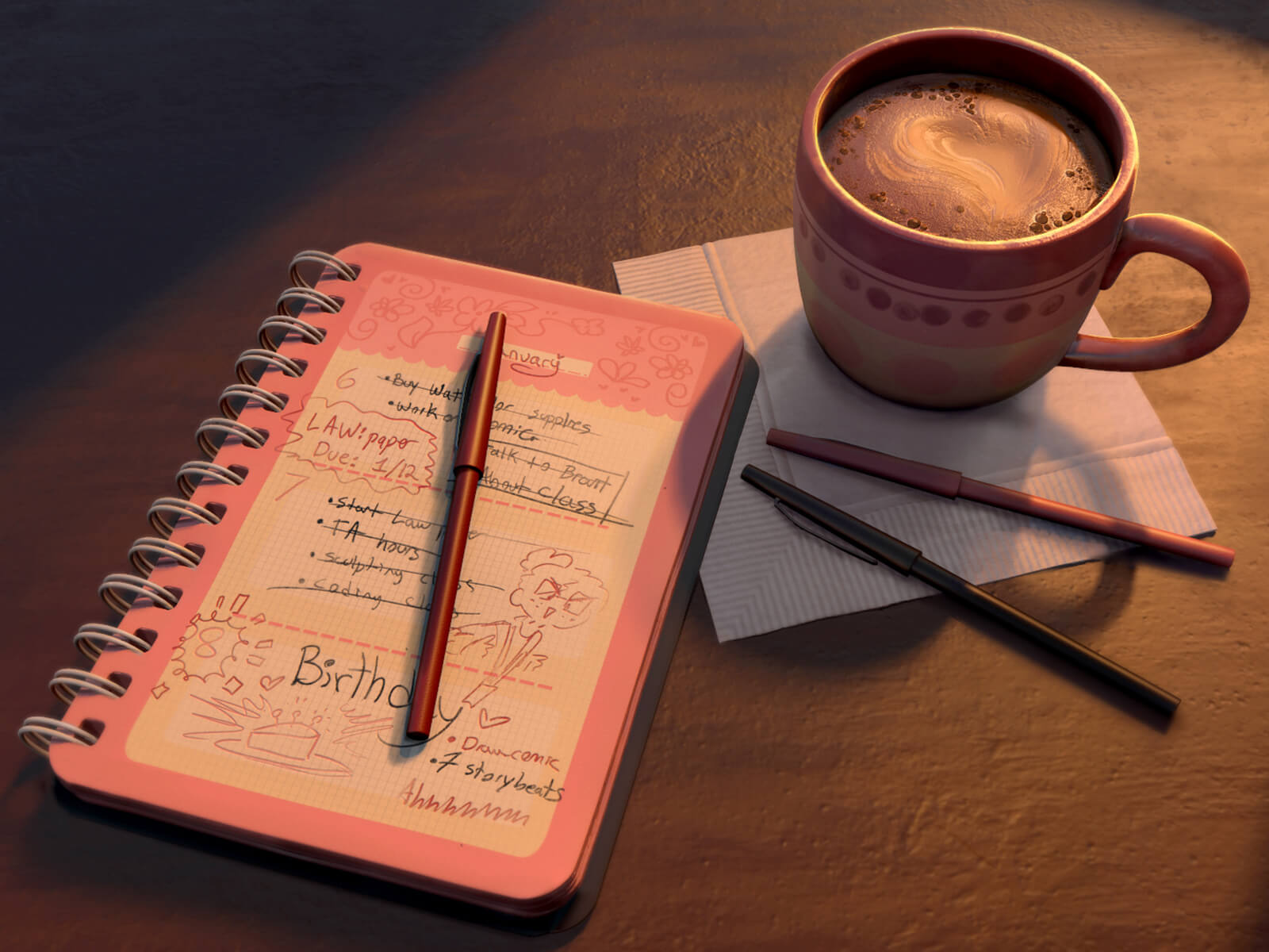 A diary and a cup of coffee