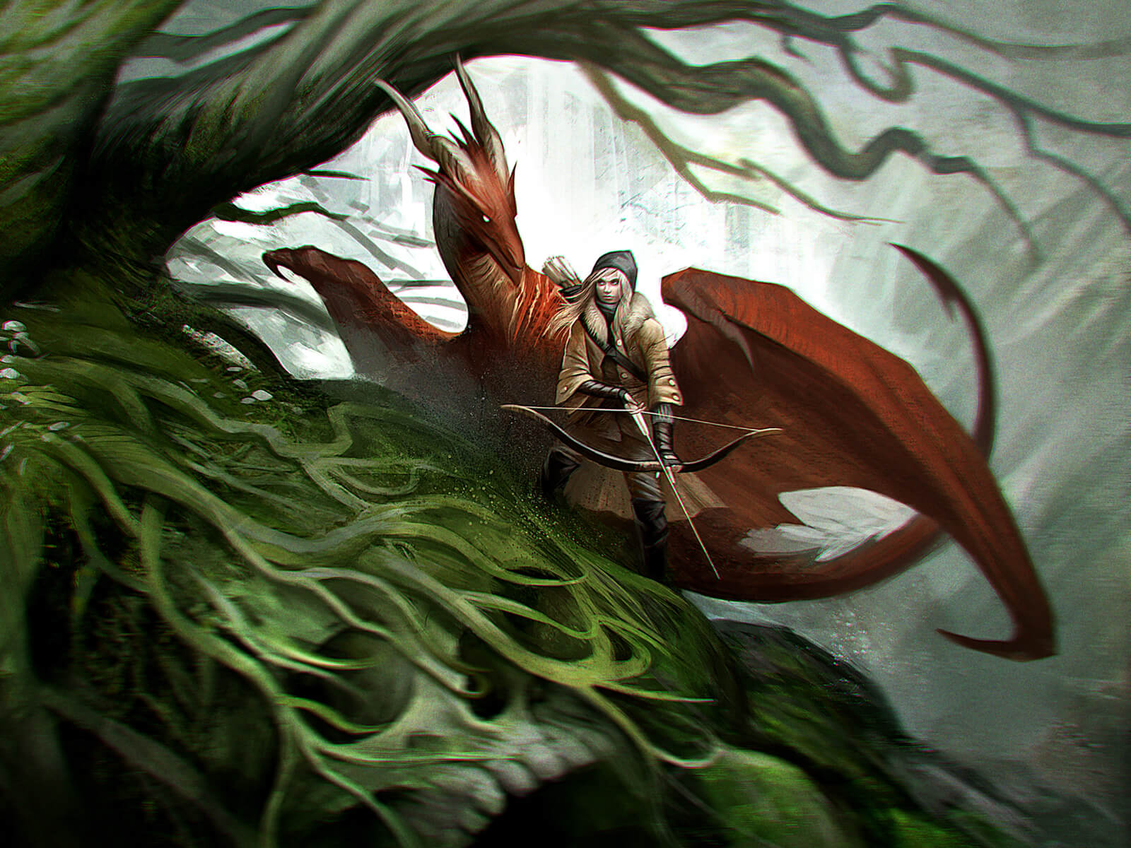 digital painting of a red dragon and blonde female carrying a cross bow in the forest