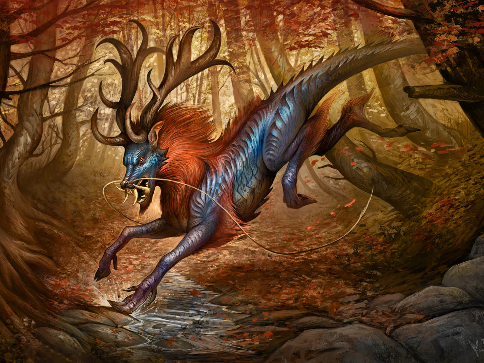 digital painting of a creature with lizard-like skin, a lion's mane, and giant antlers, running through an autumnal forest