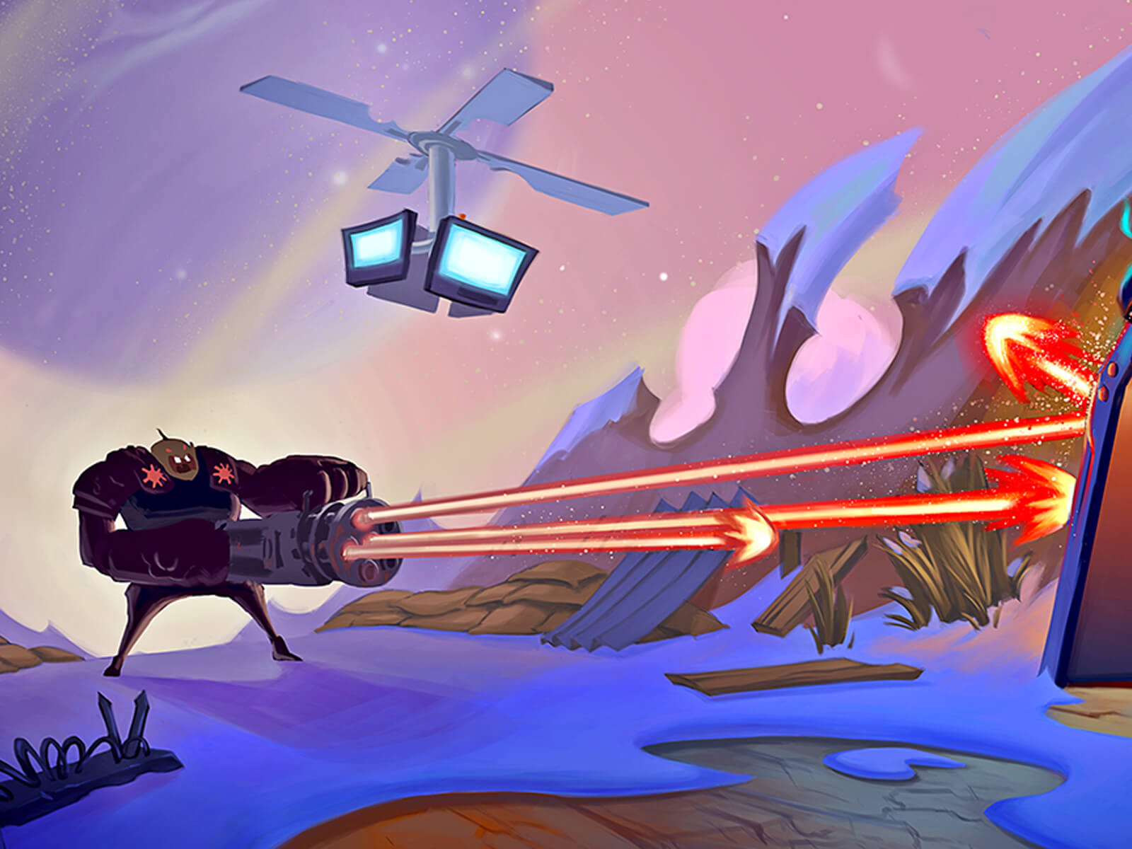 digital painting of a cartoonish alien creature shooting fire from a huge gun while a drone hovers overhead