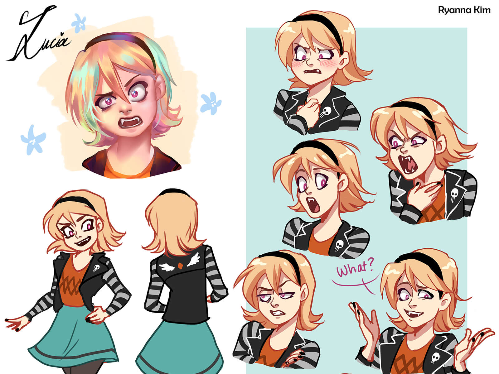 Various expressions of a teenage vampire character named Lucia