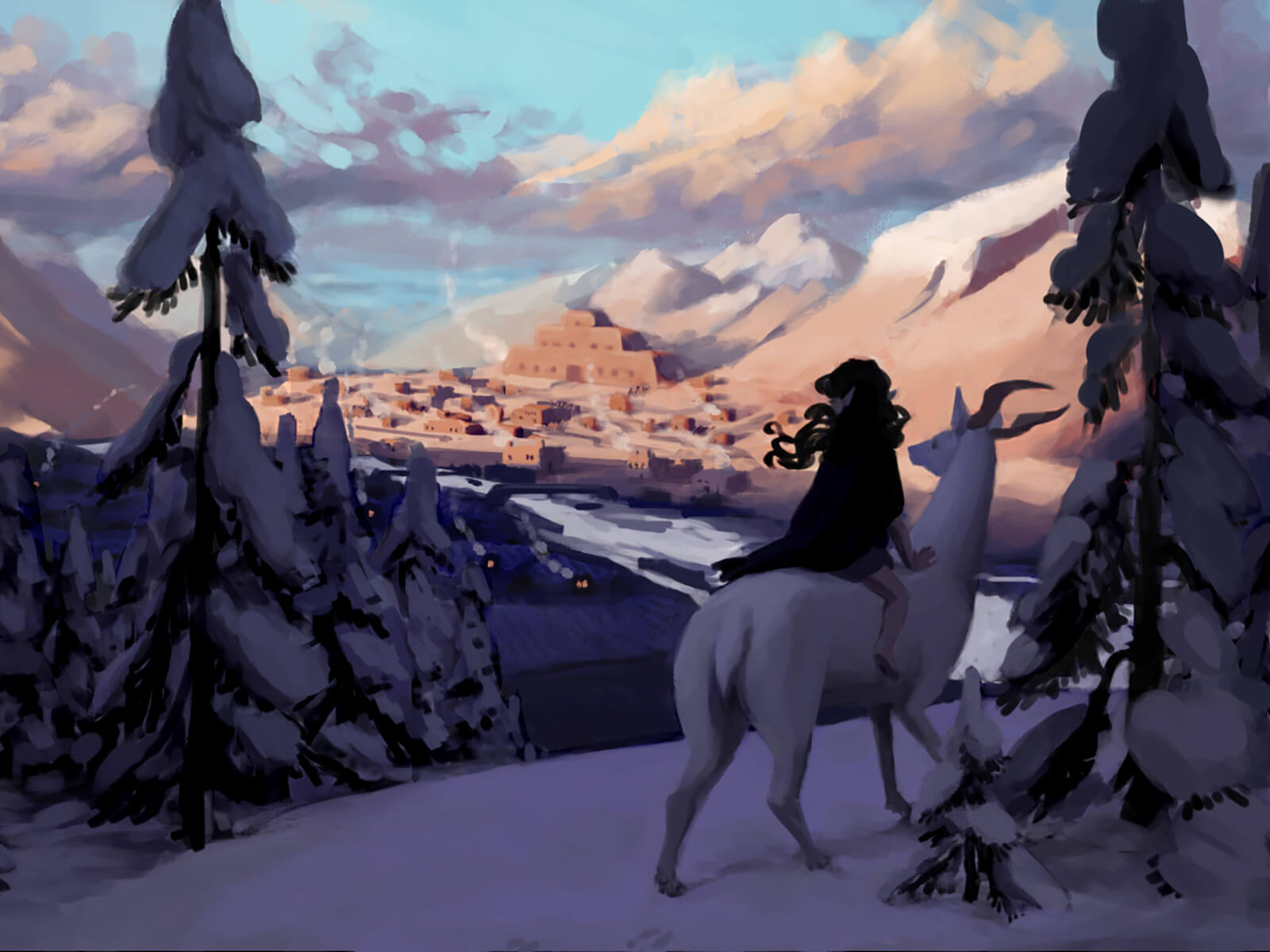 A woman rides a deer on a mountain overlooking a town