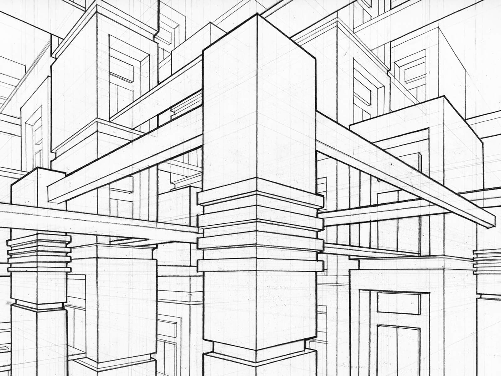 black and white perspective drawing of pillars and beams
