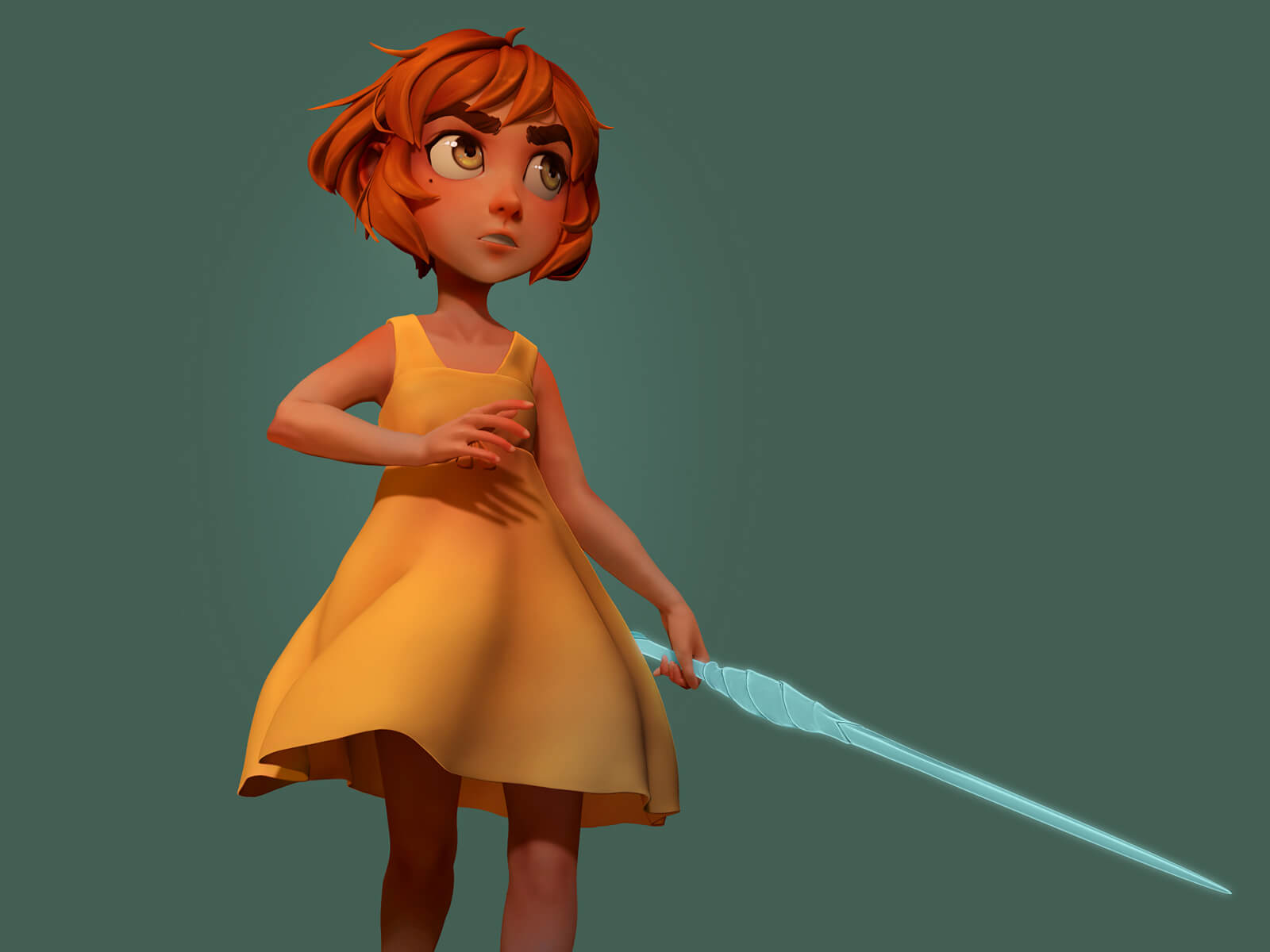 computer-generated 3D model of a small, red-headed girl in a yellow dress carrying a crystal sword