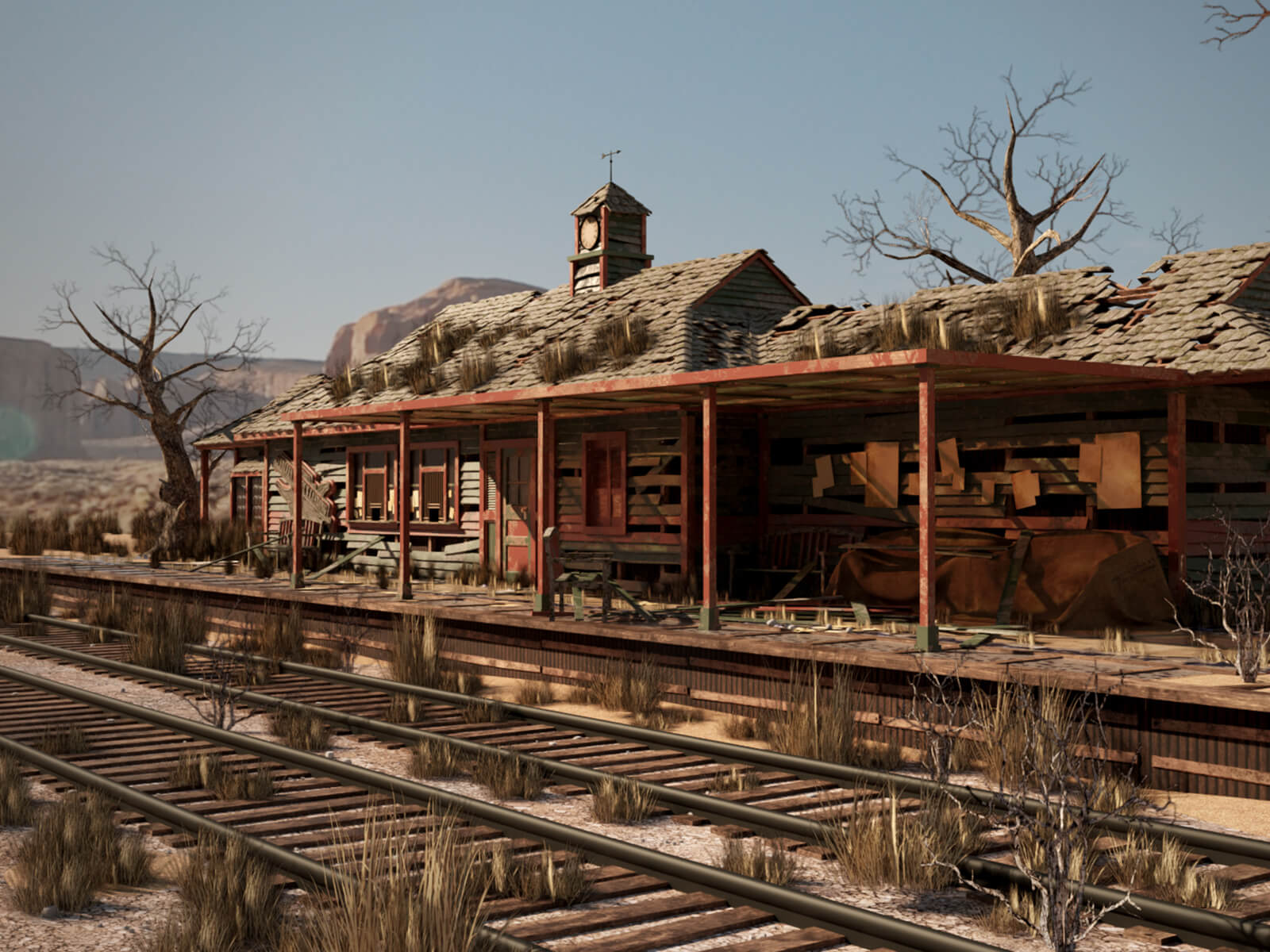 An abandoned train station in the desert