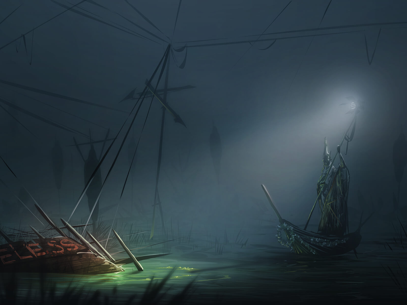A man in a pointed hat steers a boat in darkness toward a shipwreck
