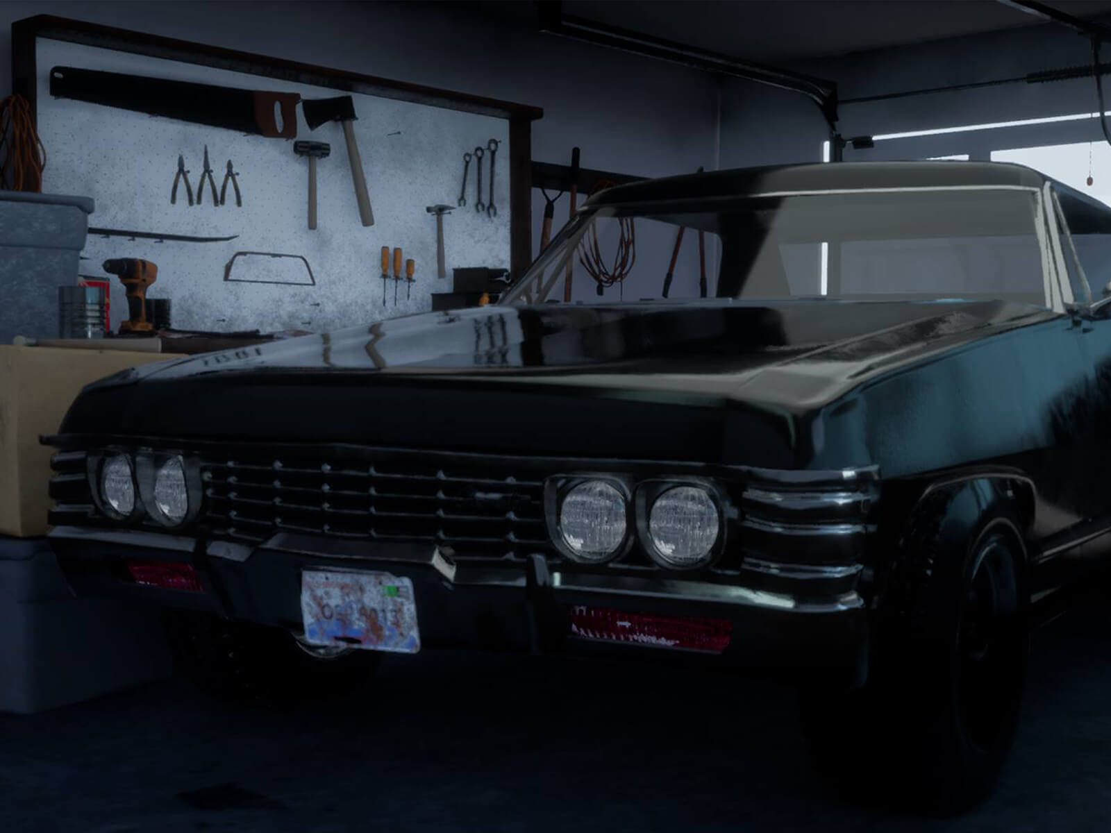 A muscle car in a closed home garage