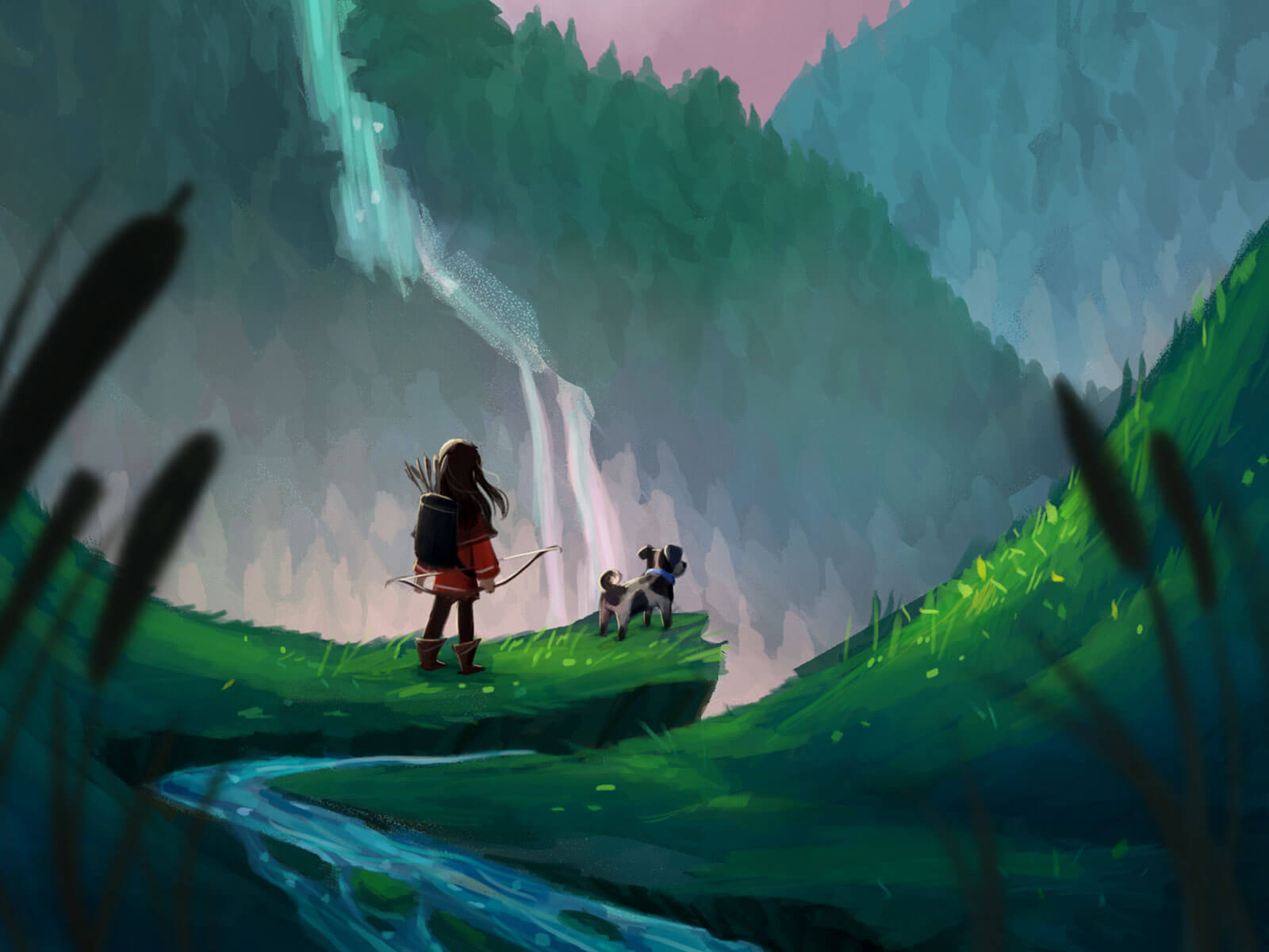 A child carrying a bow gazes at mountains with her dog