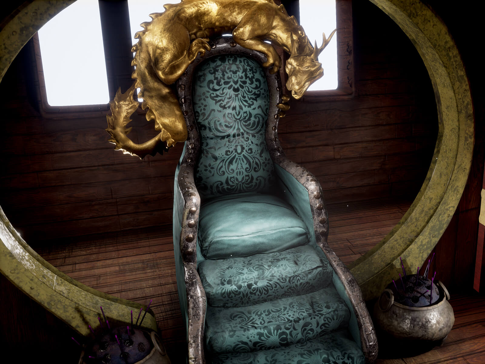 An upholstered throne with a dragon sculpture perched on top