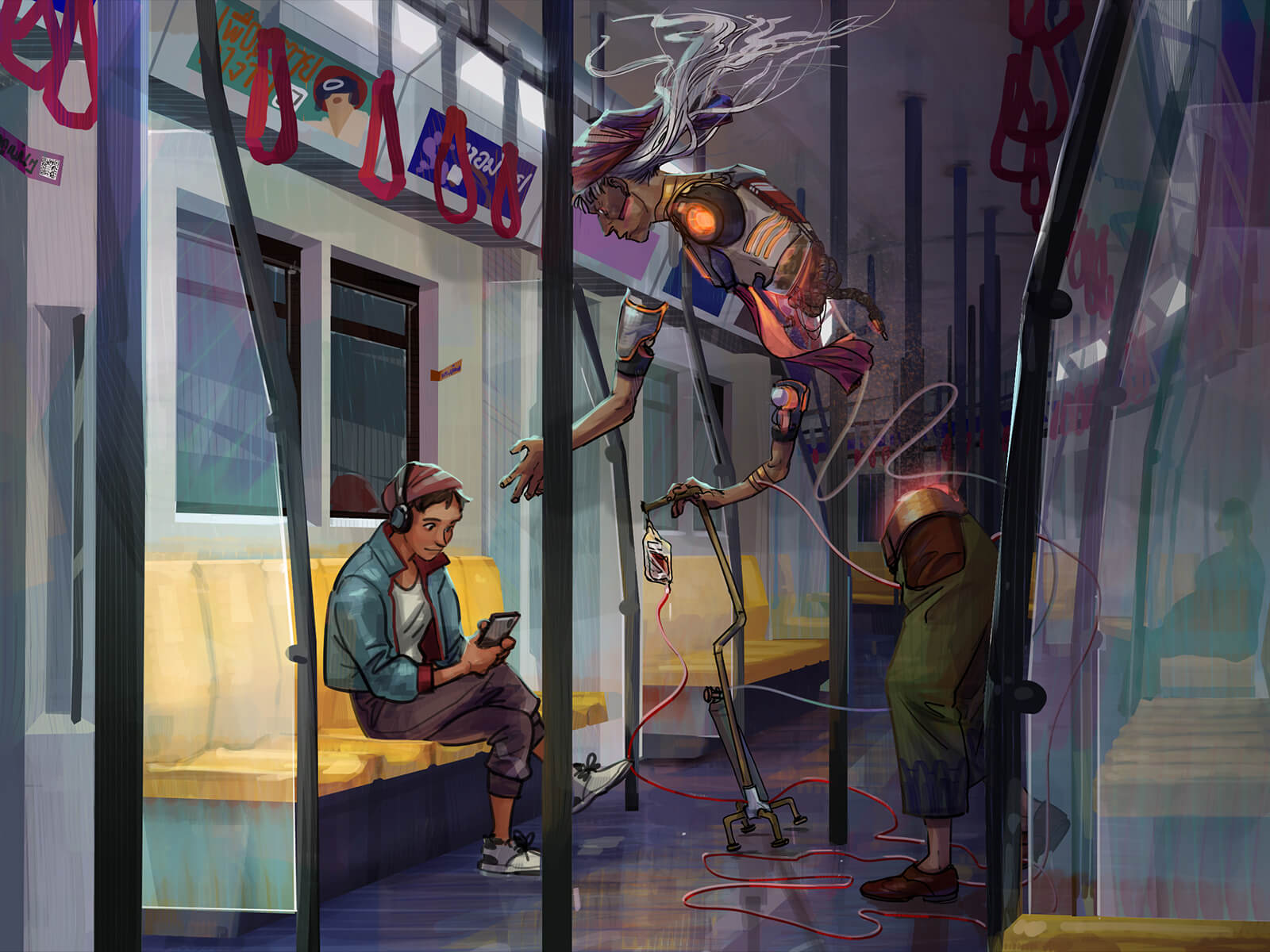 A mysterious half-human character is ignored by a person on the subway