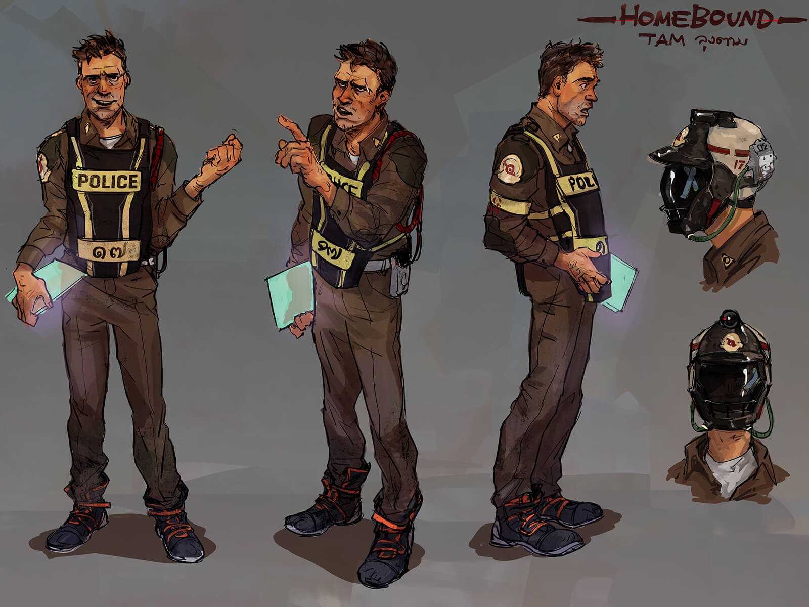 Various poses of a rumpled policeman character