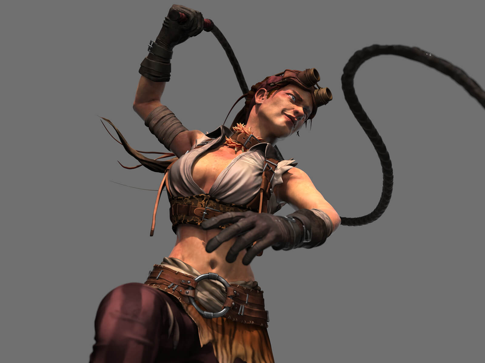 A woman wearing goggles and gloves, brandishing a whip