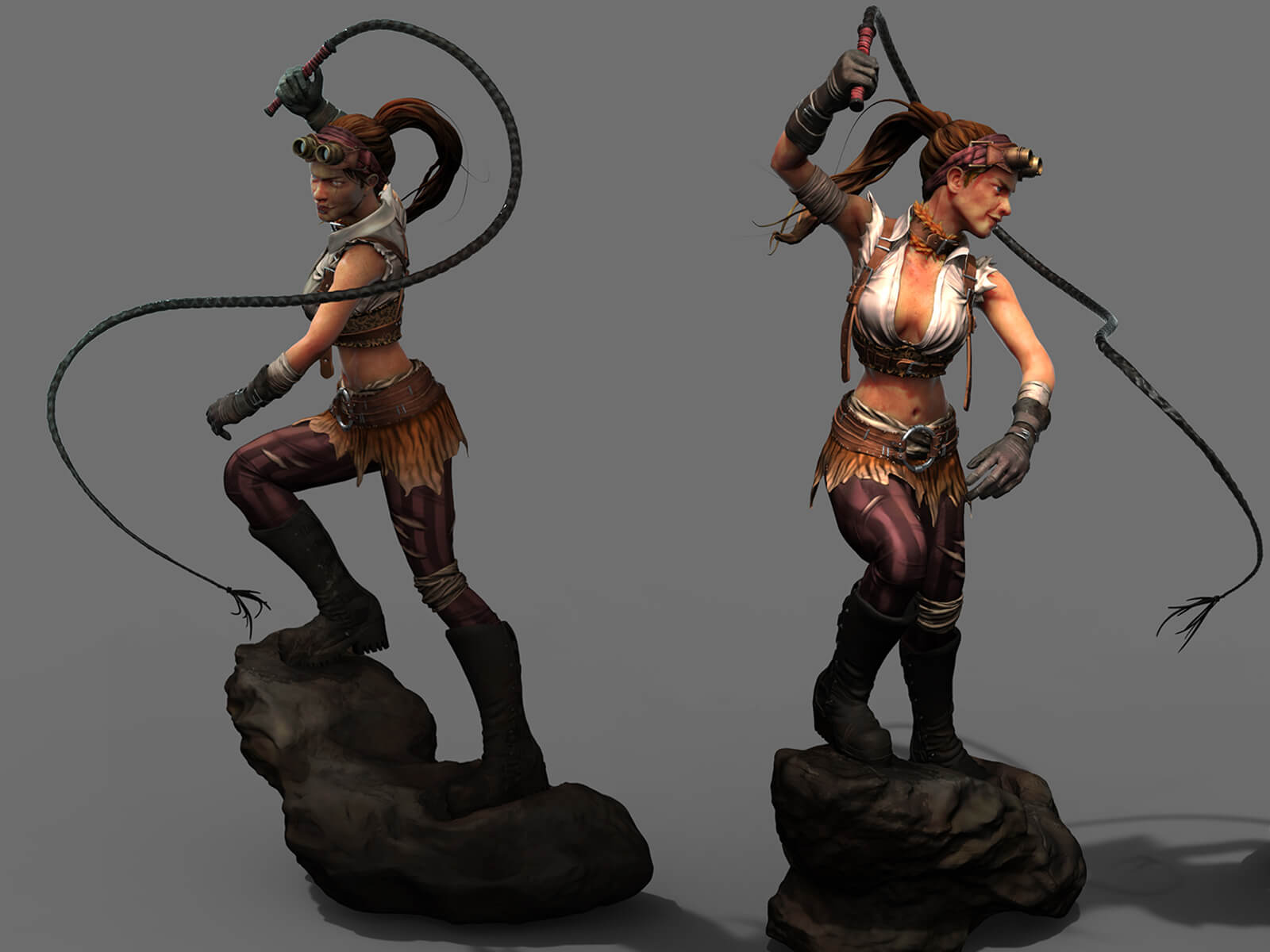 Multiple views of a woman wearing goggles, brandishing a whip