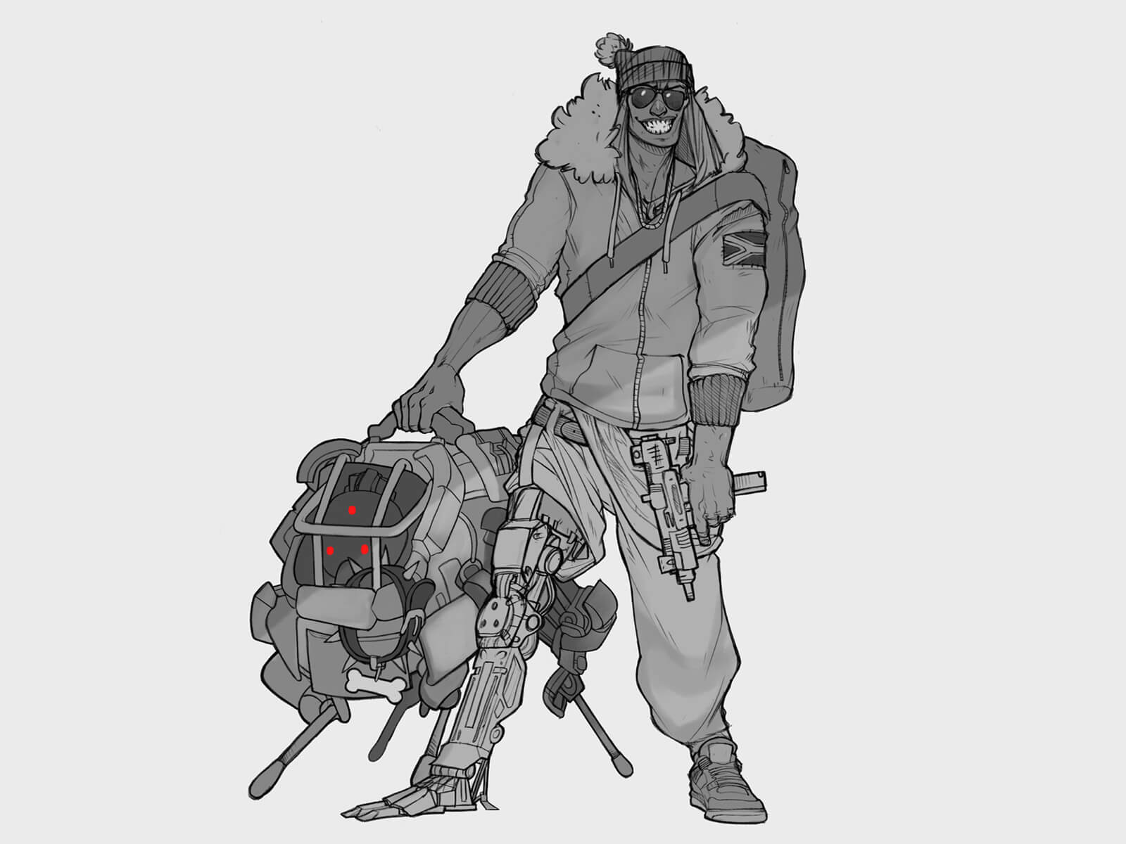 digital painting of a grinning man with a robotic leg and a large robot dog