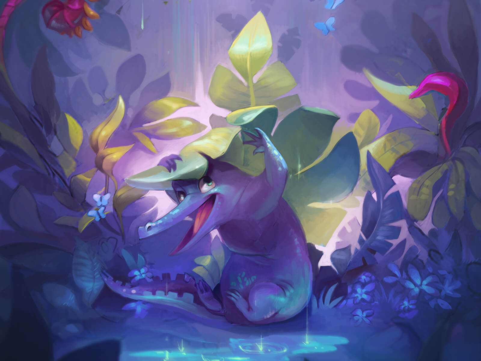 digital painting of a happy purple alligator hiding playfully under a large leaf while a bird flies overhead