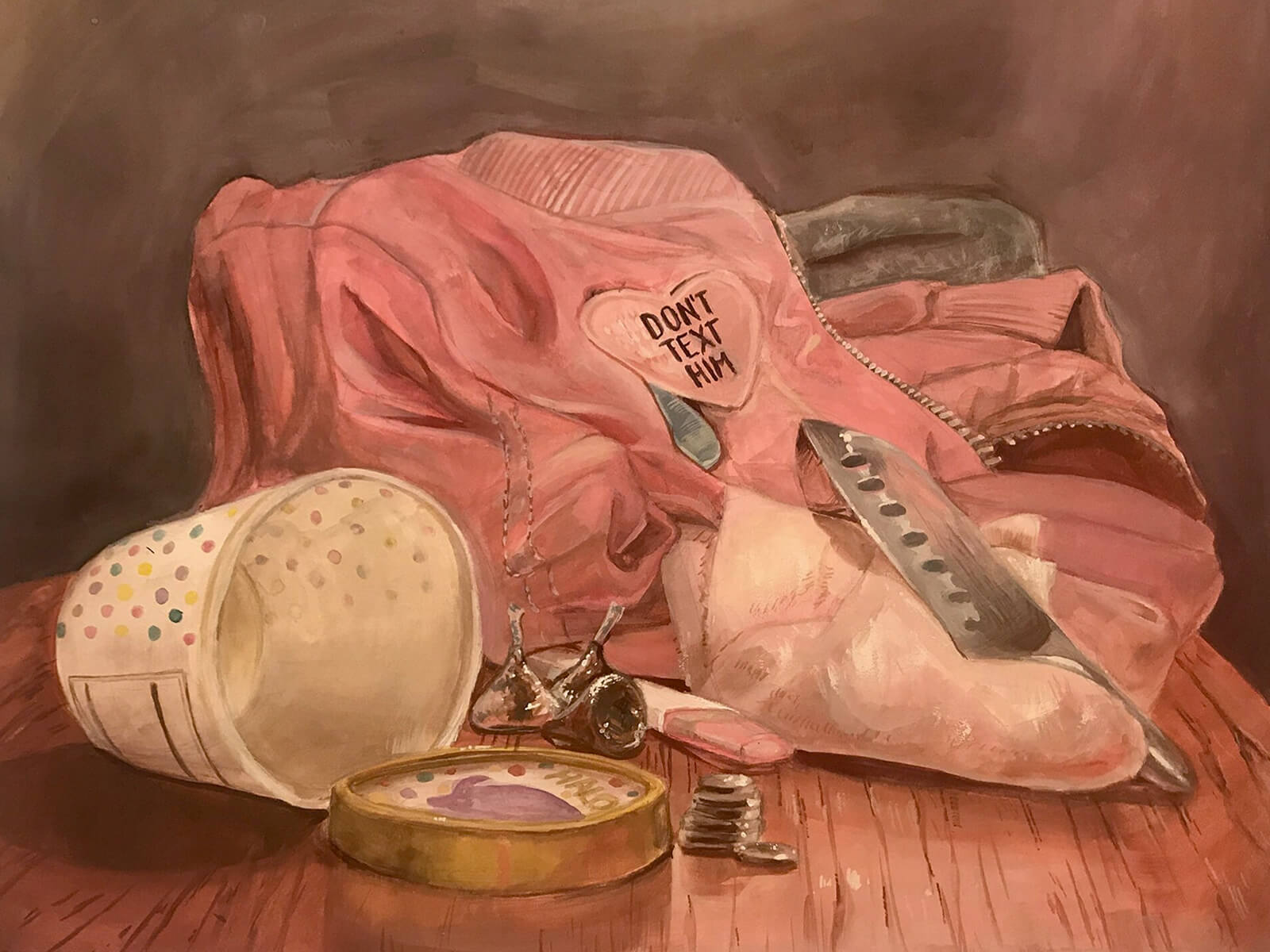"traditional painting of an empty ice cream container and a sweatshirt with a heart-shaped patch that says ""don't text him"""