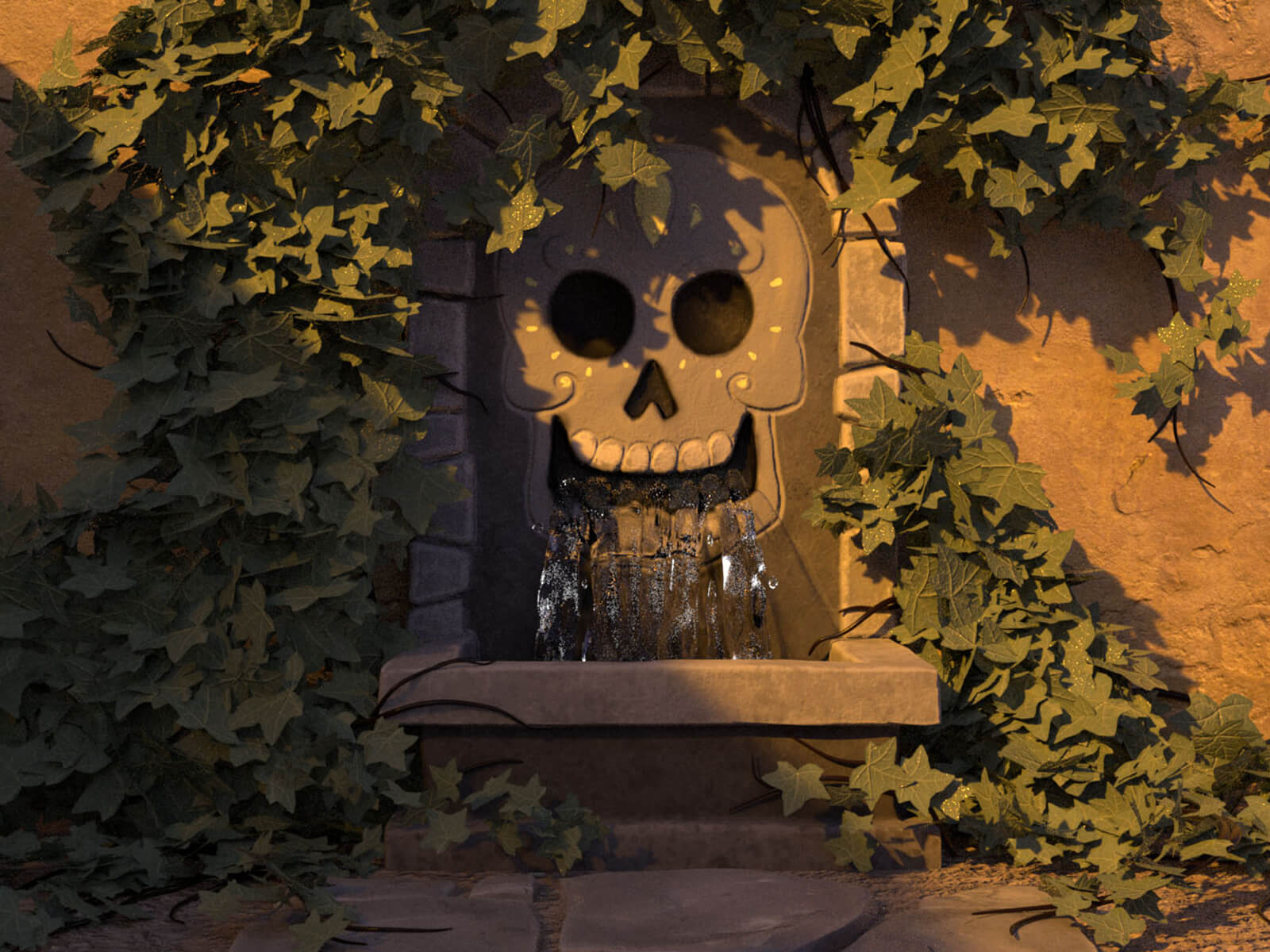 A fountain in the shape of a skull
