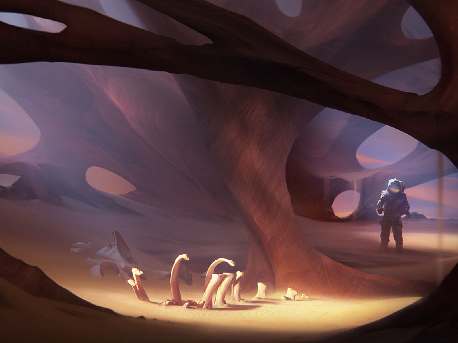 digital painting of an astronaut in a desert-like enivronment with curving rock formations, rendered in shades of purple