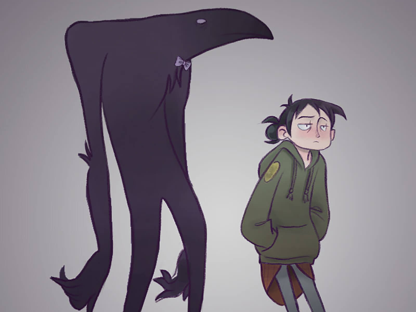 A slouchy girl in a sweatshirt next to large creature in a bow tie