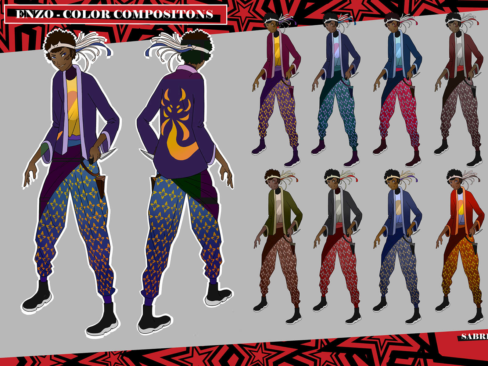 A character in a jacket and patterned pants in various colors