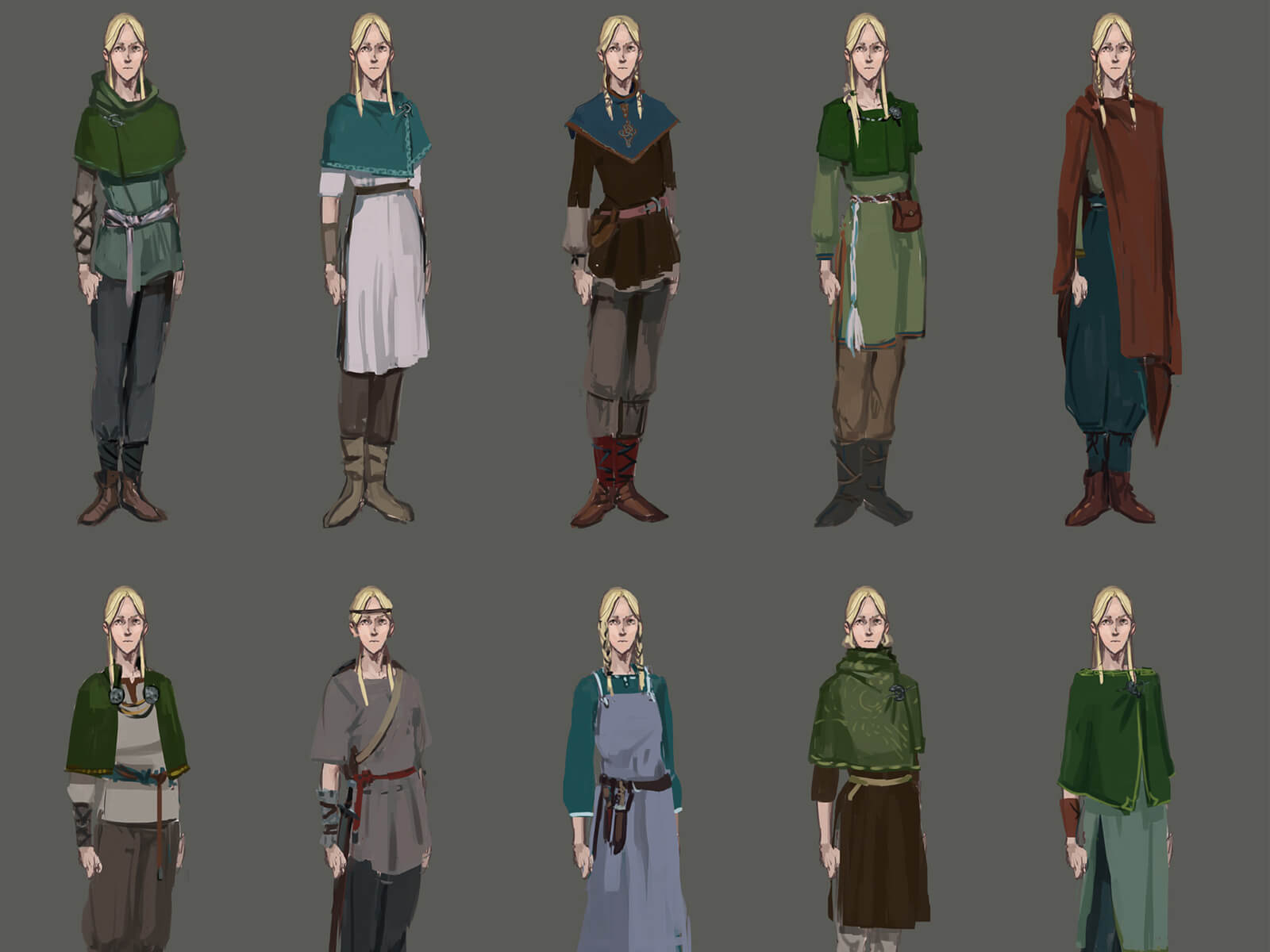 A blonde woman character in various outfits