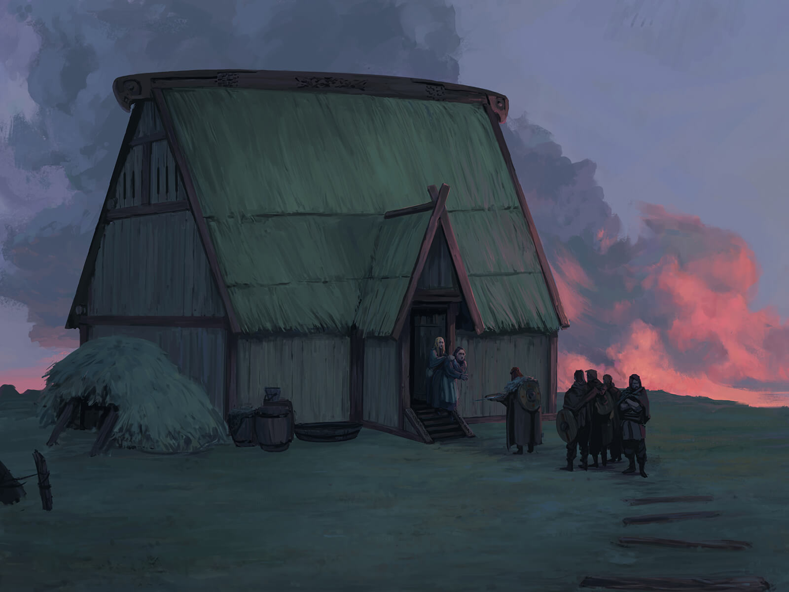 News being delivered to inhabitants of a thatched barn at sunset