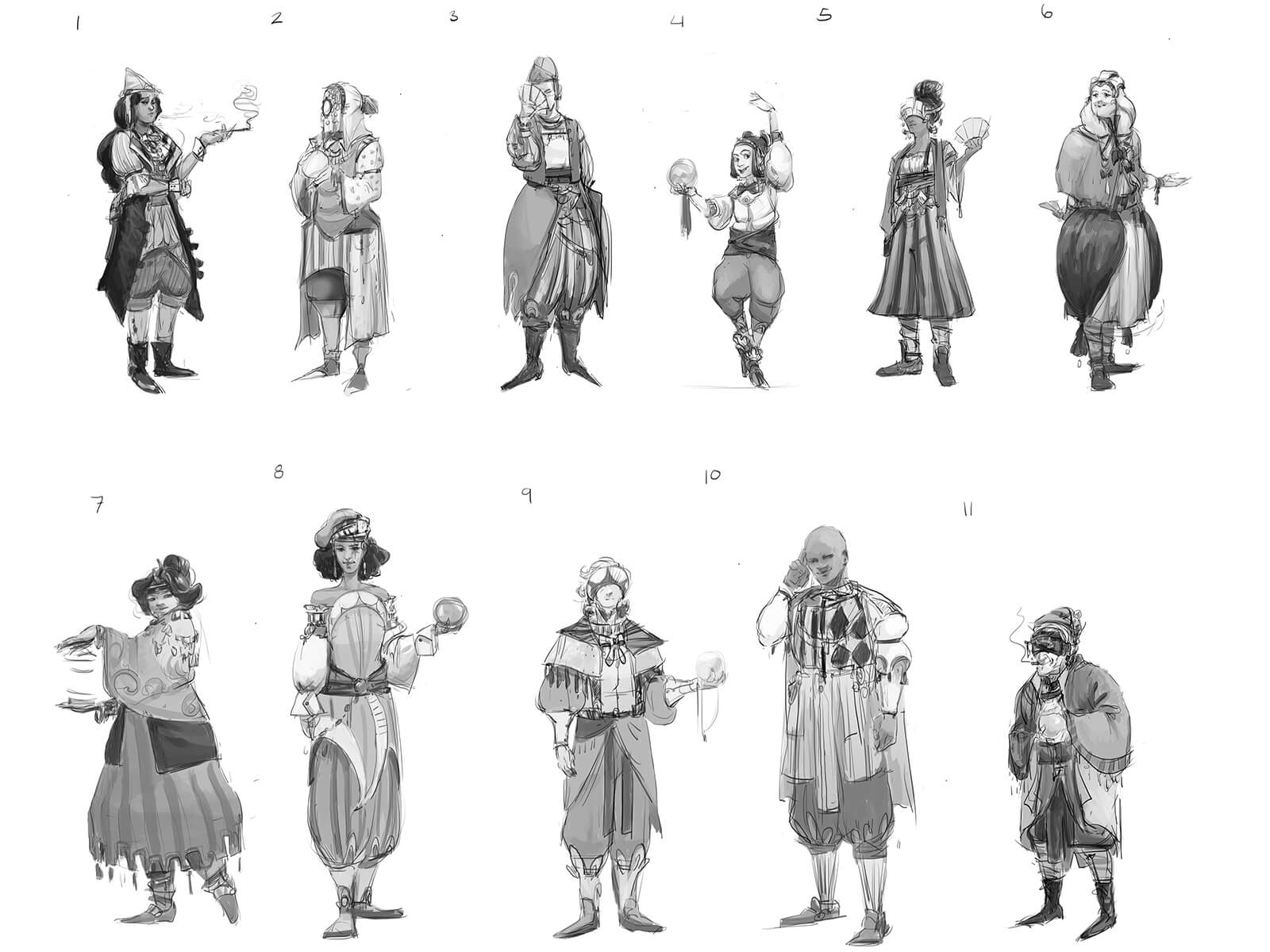 Various characters pose in flowing costumes