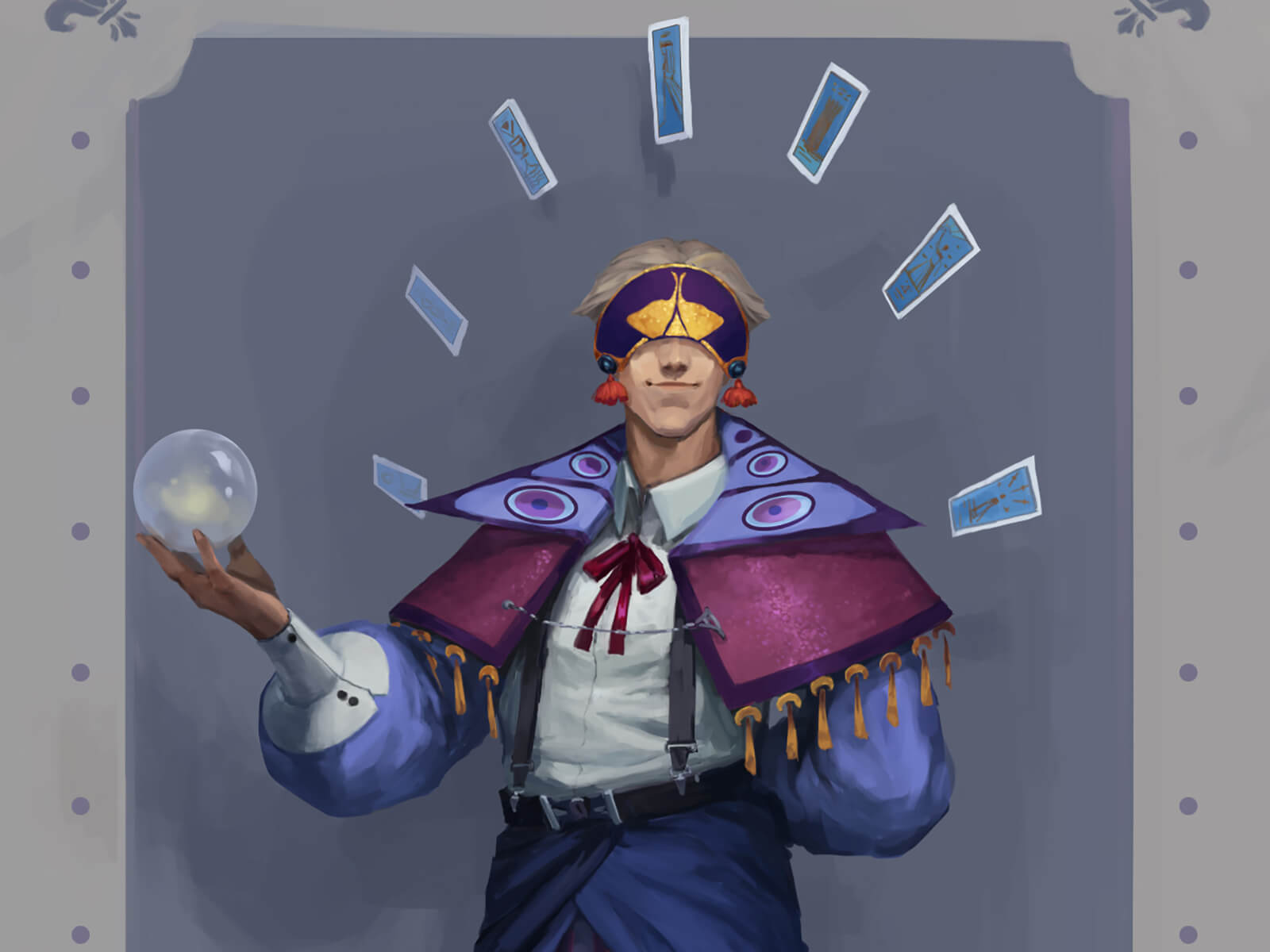 A masked character in a tasseled purple cape carrying a crystal ball