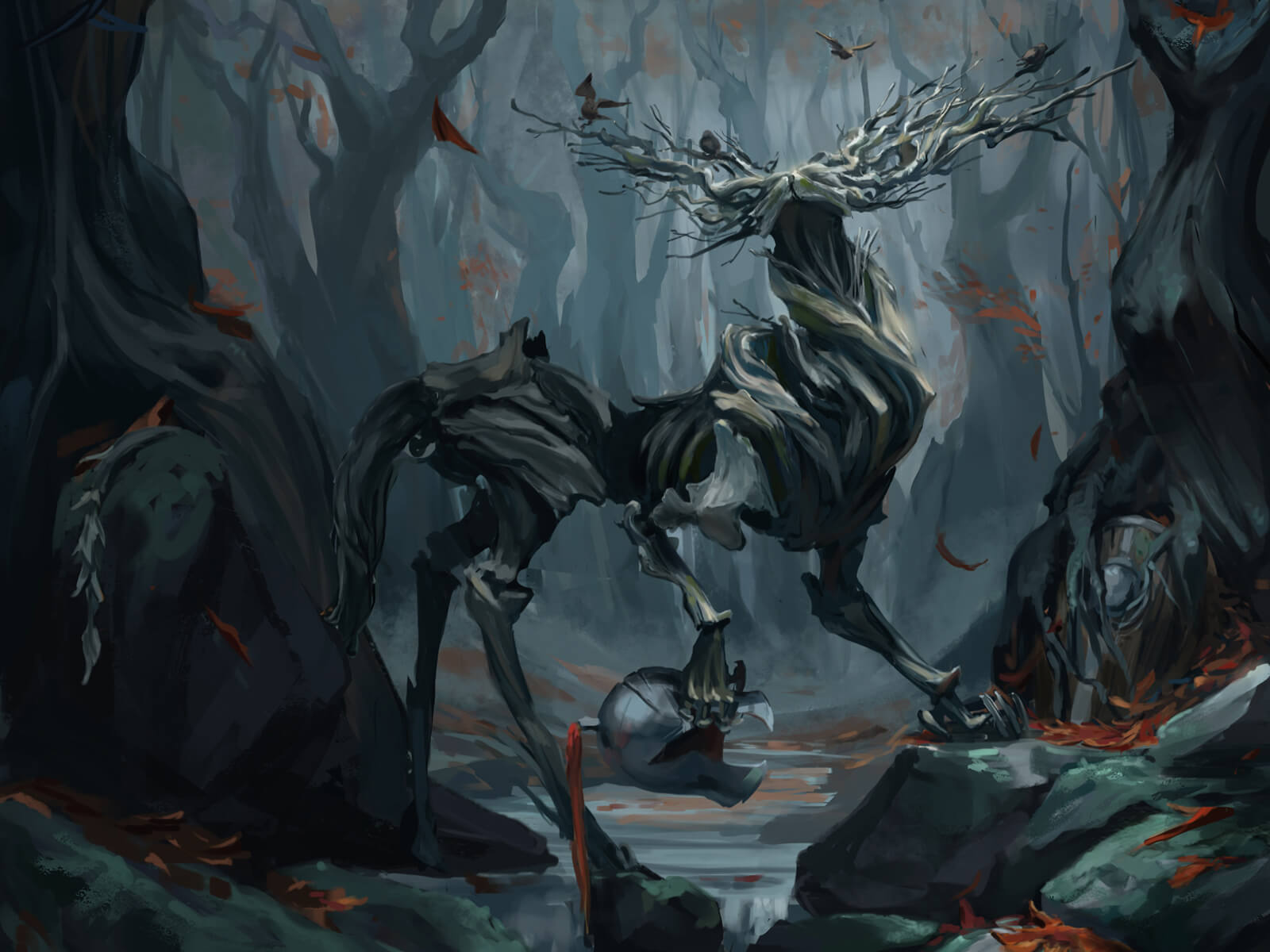 A wooden creature stands in a dark forest