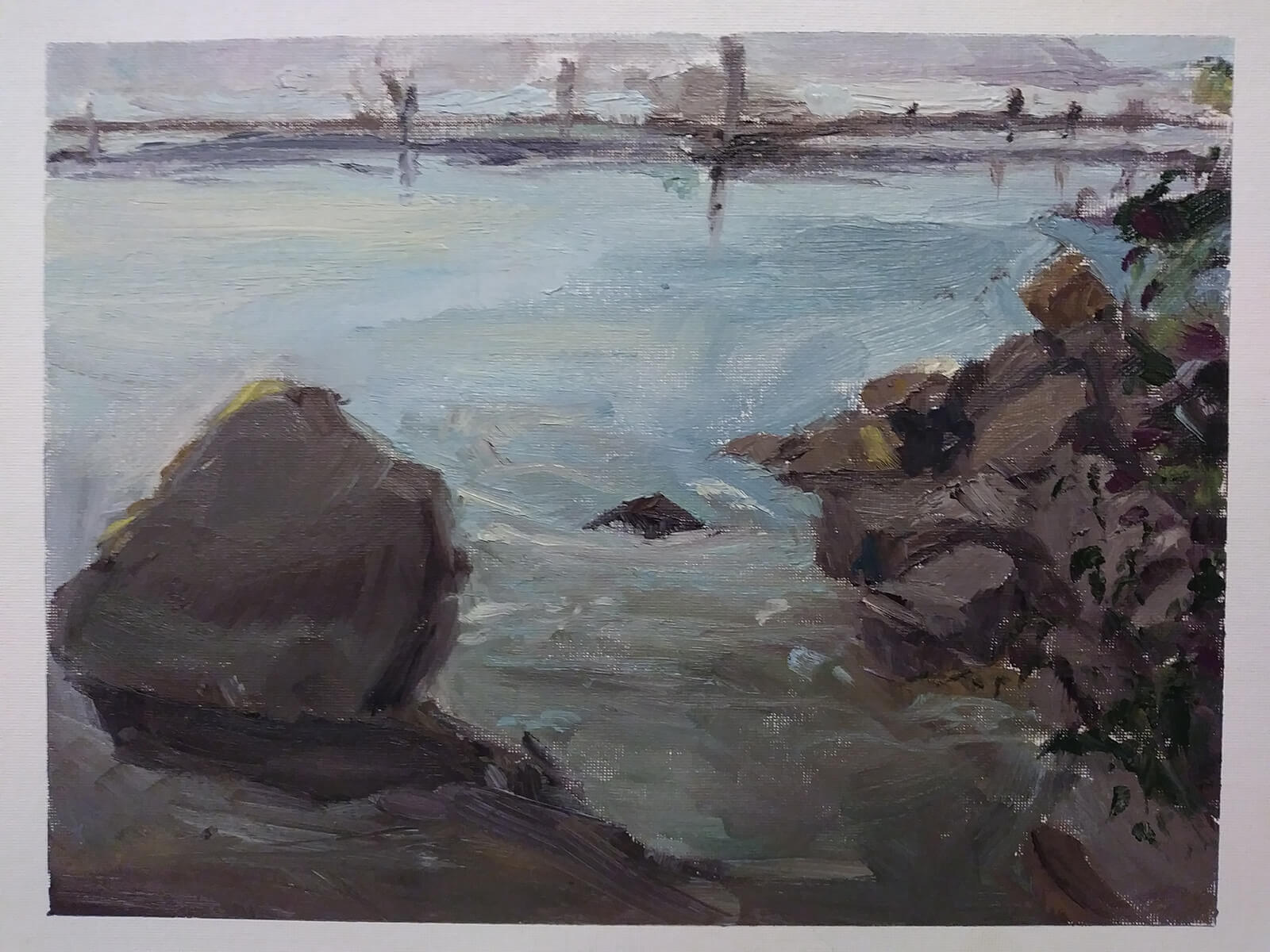traditional painting of a shoreline with large black rocks
