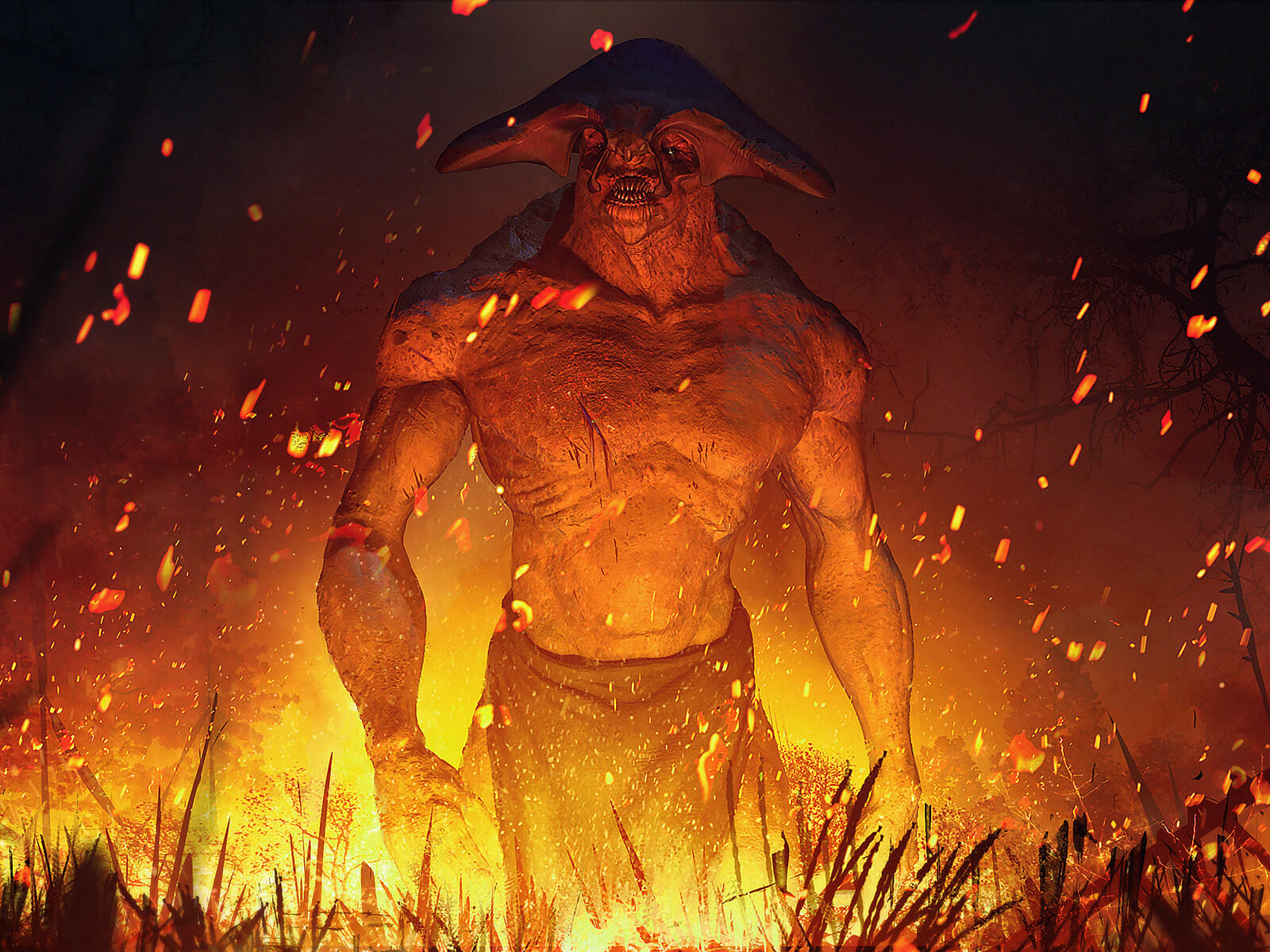 A large man-like creature with a winged bony head piece stands in fire