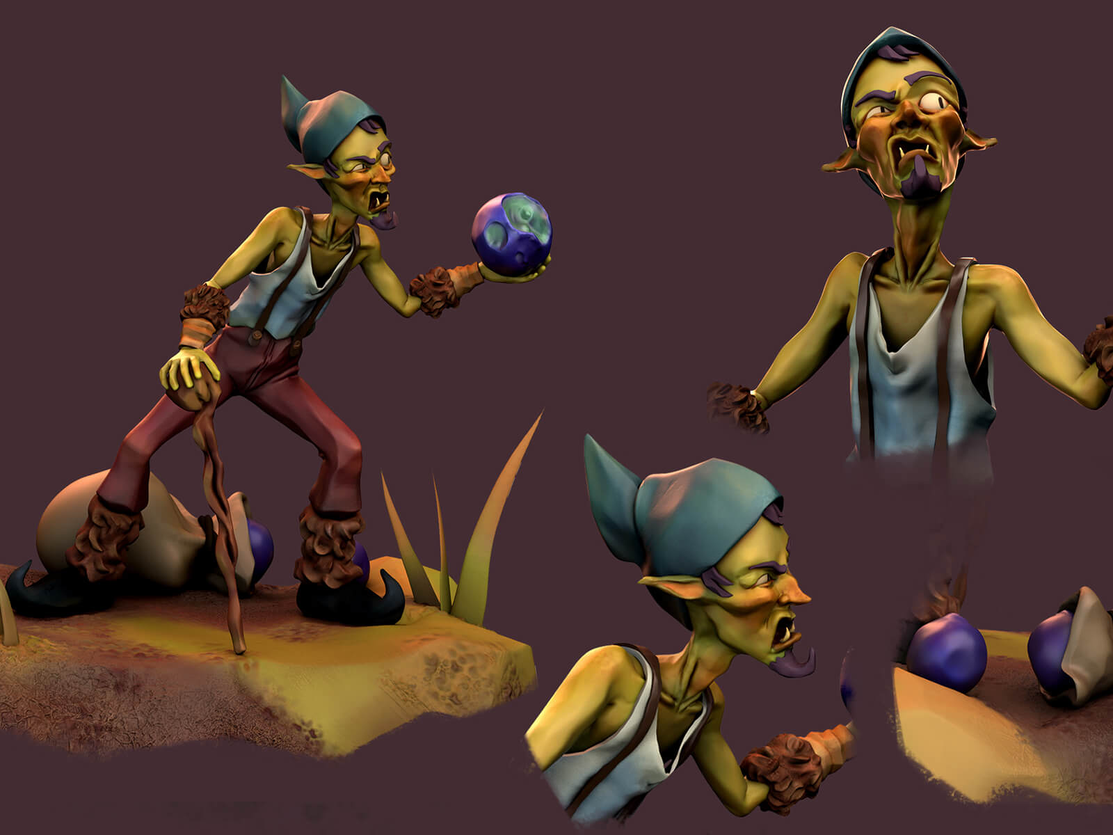Multiple views of an elf wearing a pointy hat, carrying a ball