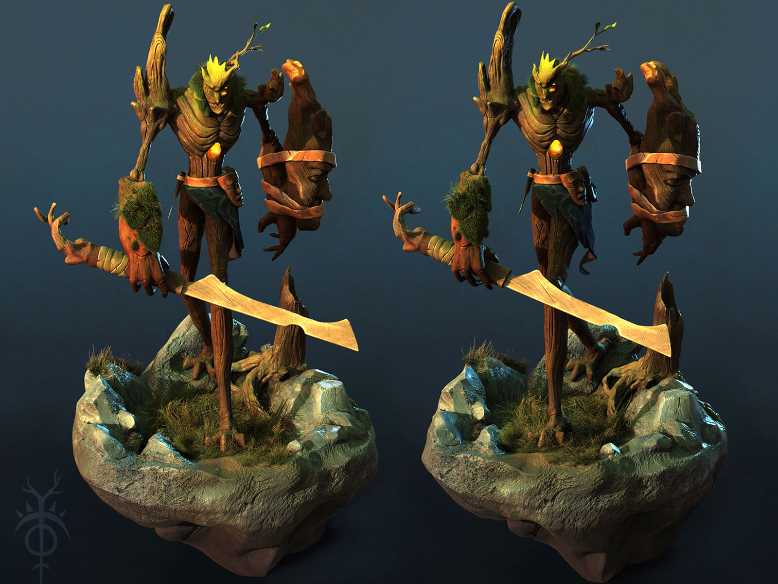 Multiple views of a wooden creature carrying a wooden sword