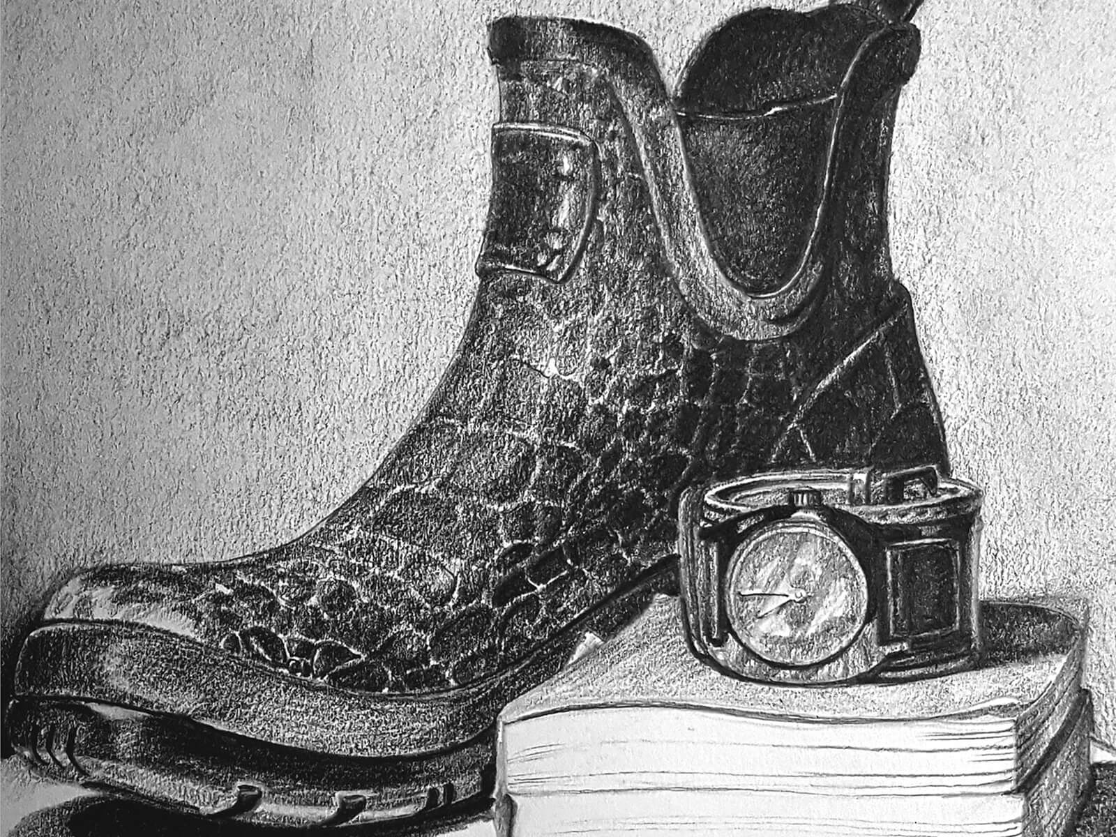 still-life drawing of a boot, wrist watch, and book