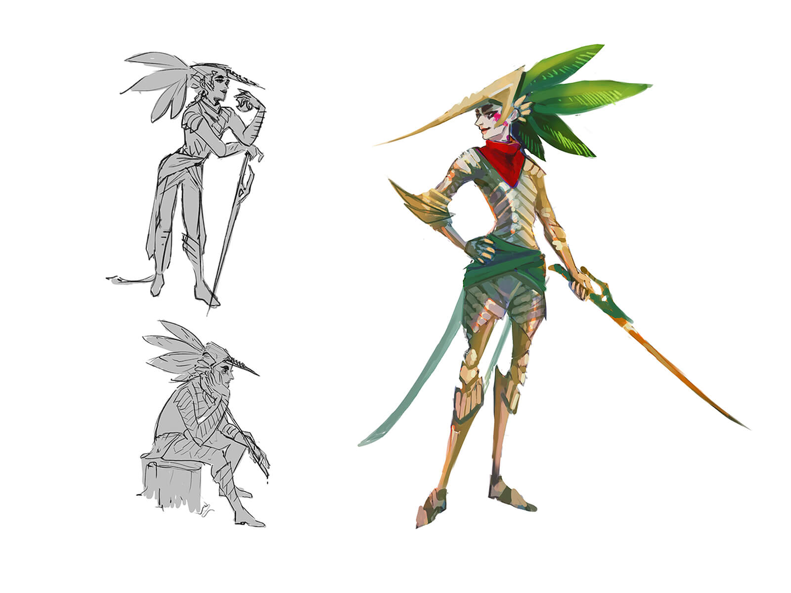 Sketches of a fairy carrying a sword