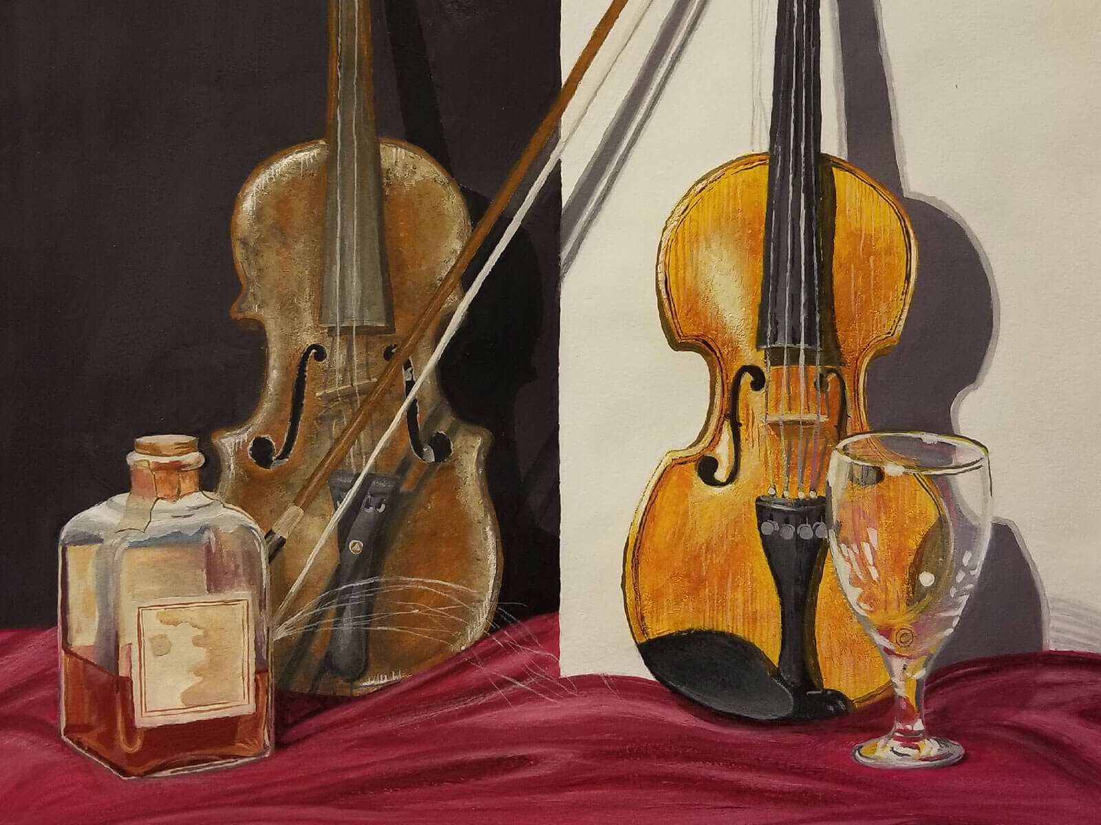 Painting of two violins, a bottle of alcohol and a glass