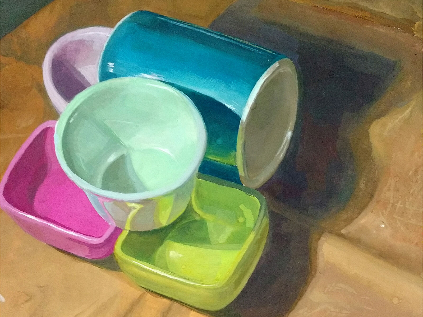still-life traditional painting of brightly painted cups and square-shaped containers
